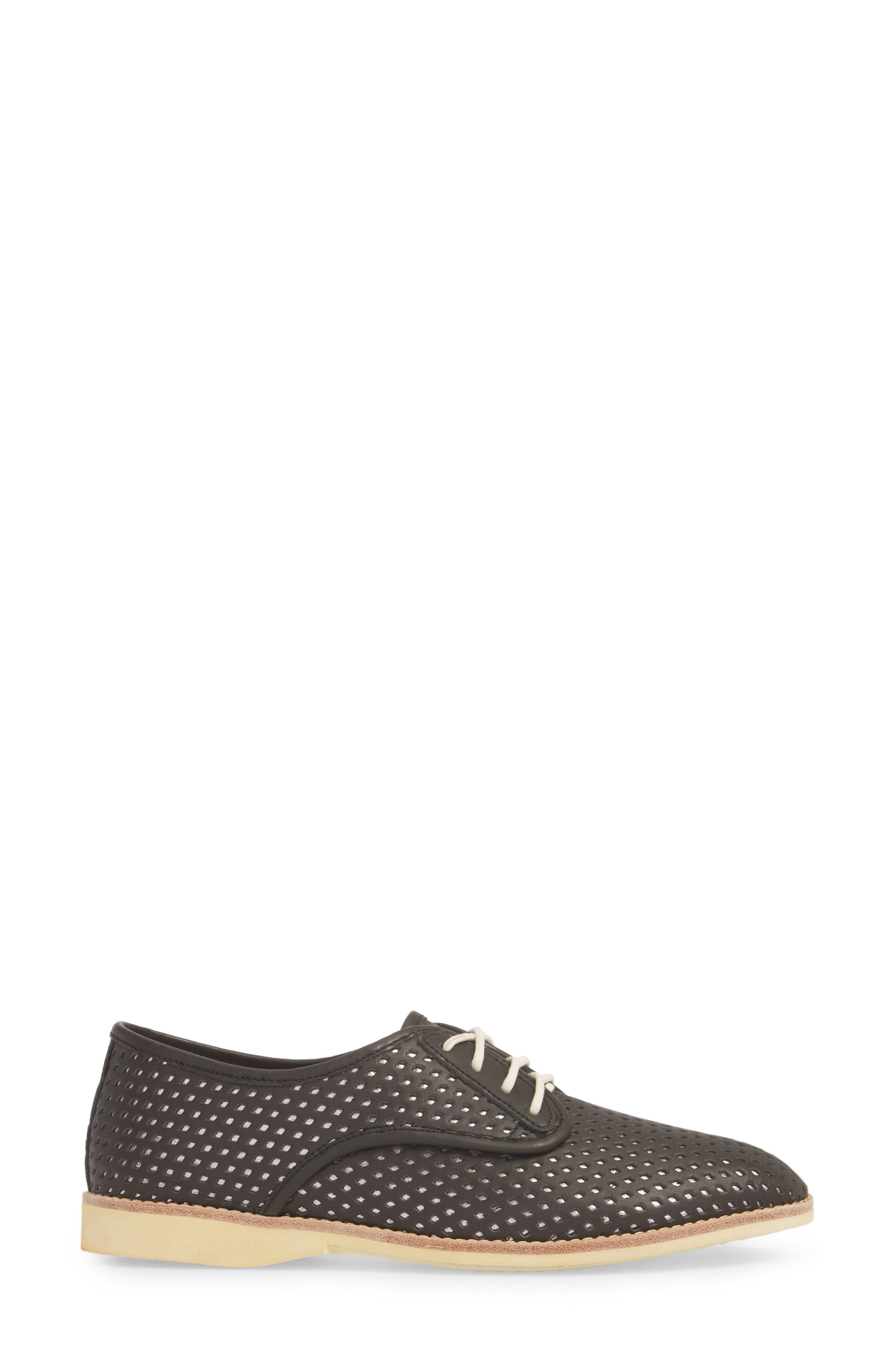 Punch Perforated Derby,                             Alternate thumbnail 3, color,                             BLACK/ ROSE GOLD LEATHER