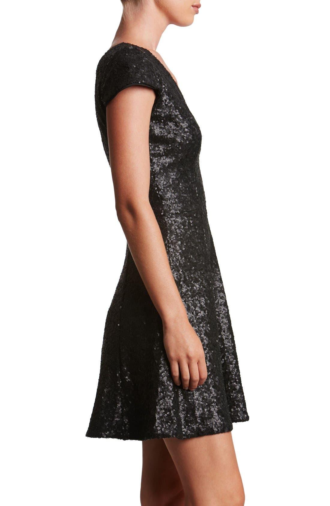 Georgina Sequin Fit & Flare Dress,                             Alternate thumbnail 2, color,                             001