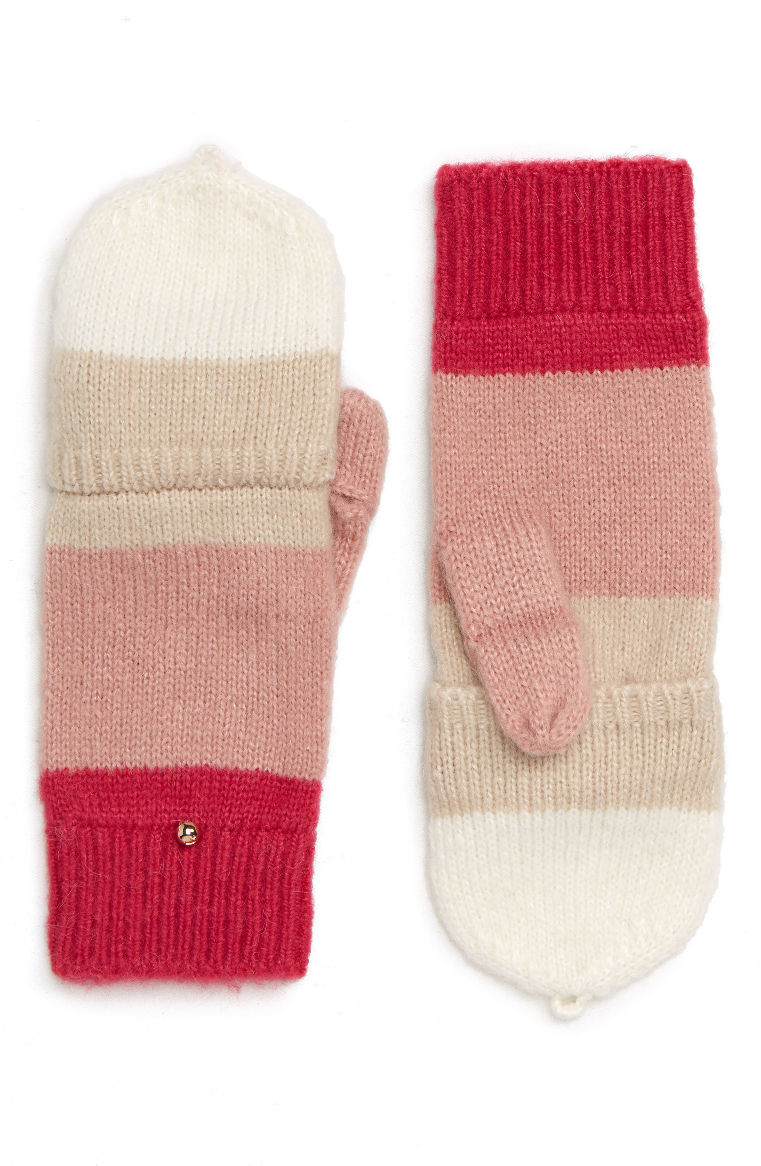 brushed knit colorblock convertible mittens,                             Alternate thumbnail 2, color,                             CREAM/ OATMEAL/ PEONY/ BEGONIA