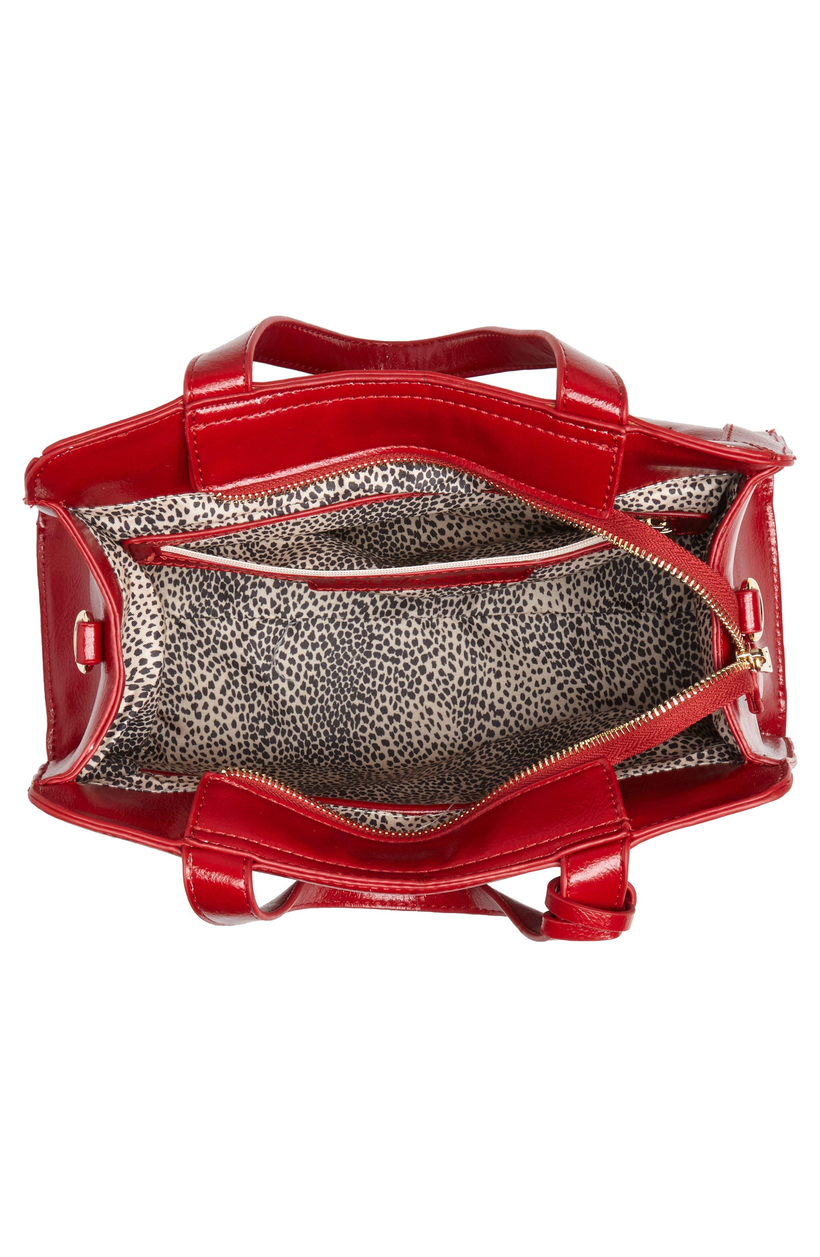 Aisln Faux Leather Satchel,                             Alternate thumbnail 4, color,                             RED