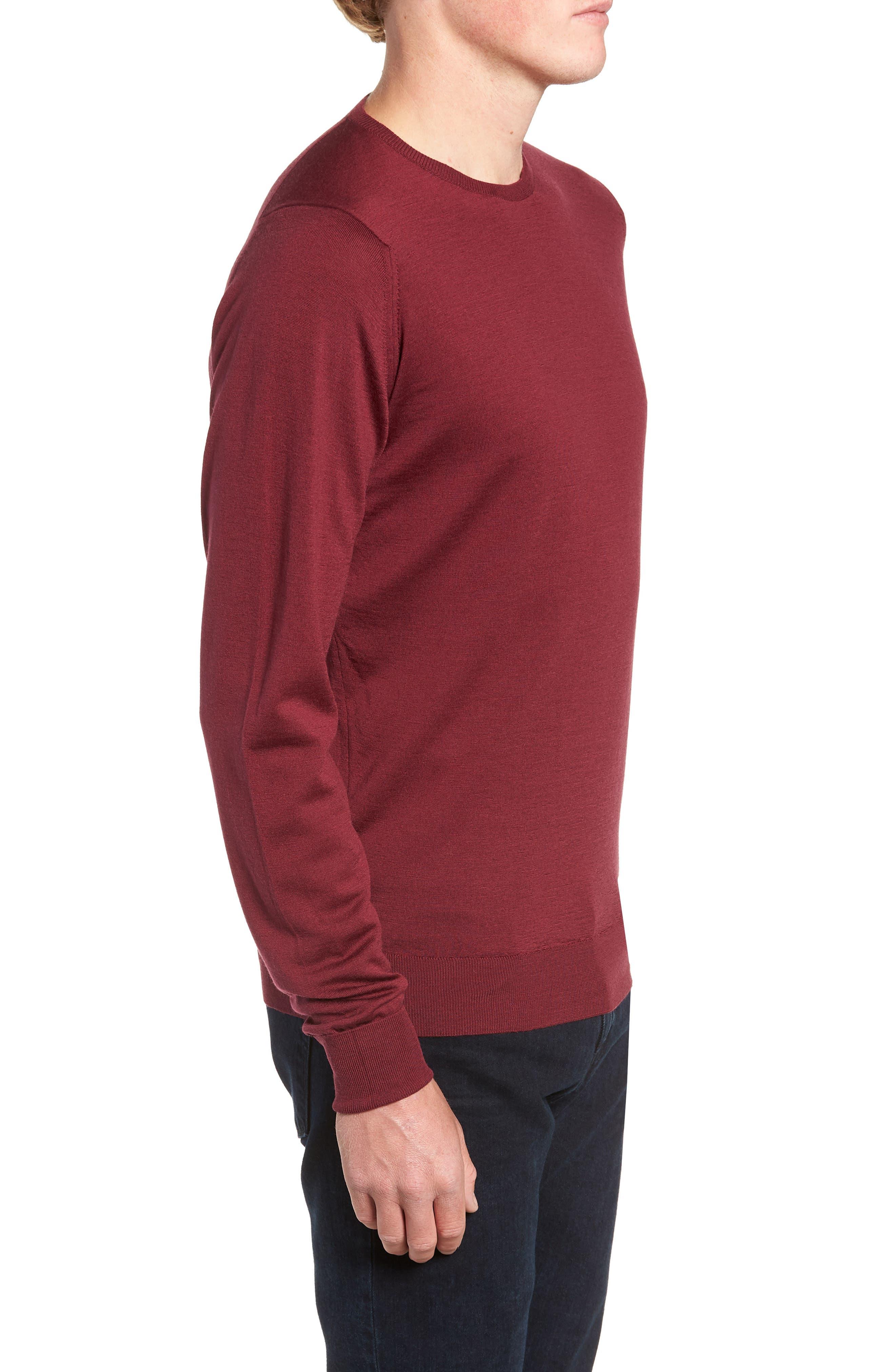 'Marcus' Easy Fit Crewneck Wool Sweater,                             Alternate thumbnail 3, color,                             BOREDAUX