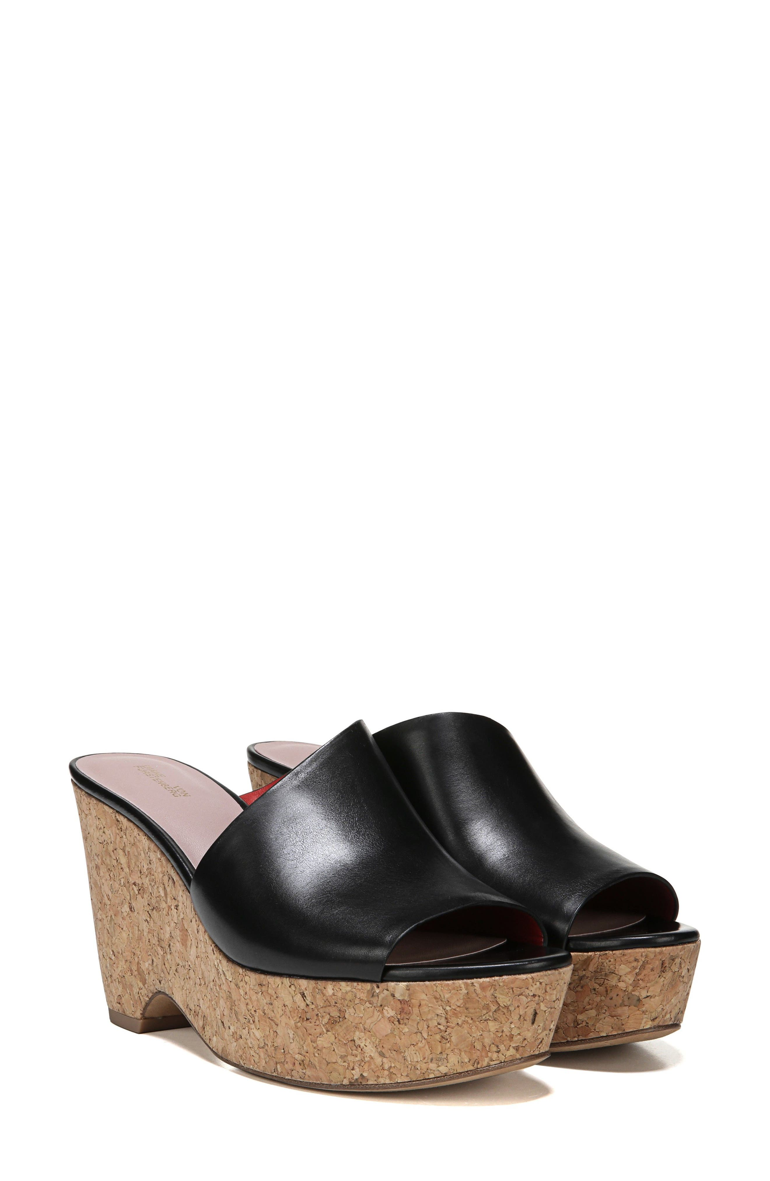 DIANE VON FURSTENBERG Bonnie Wedge Slide Sandal, Main, color, 001