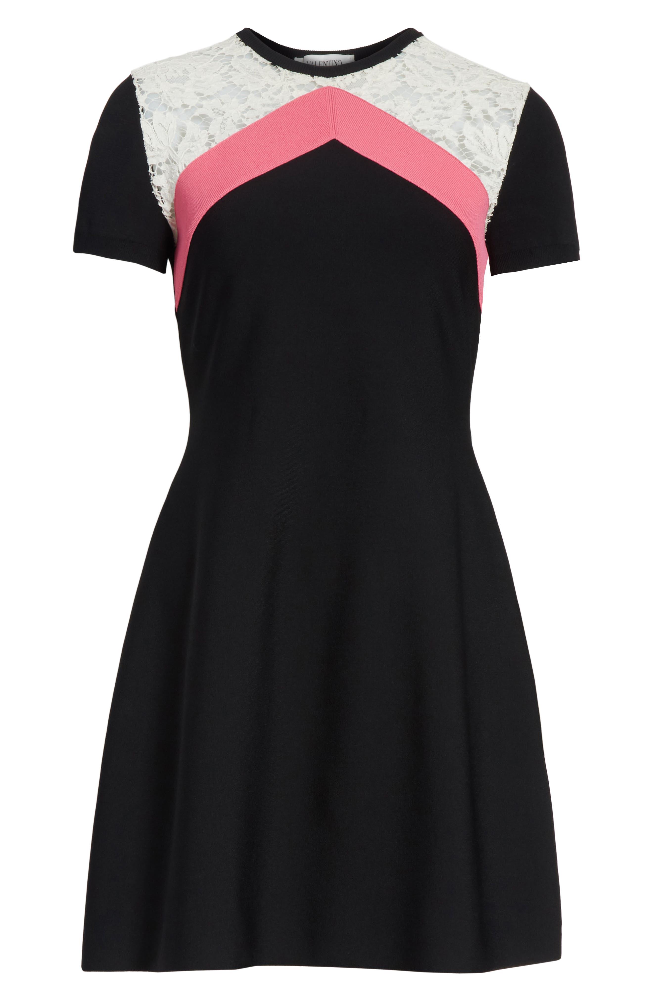 Chevron Lace Knit Dress,                             Alternate thumbnail 6, color,                             001