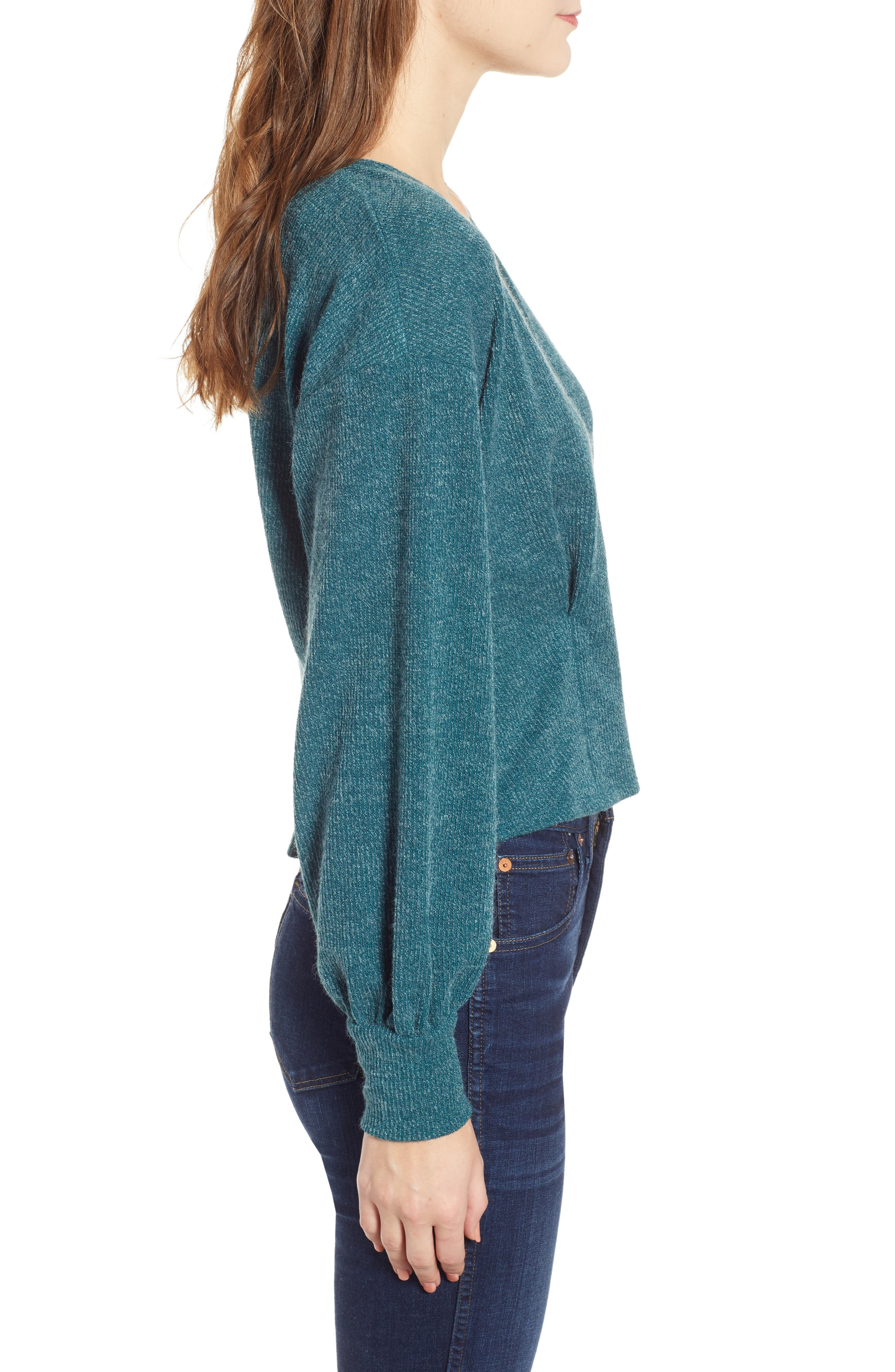 Wrap Sweater,                             Alternate thumbnail 3, color,                             TEAL