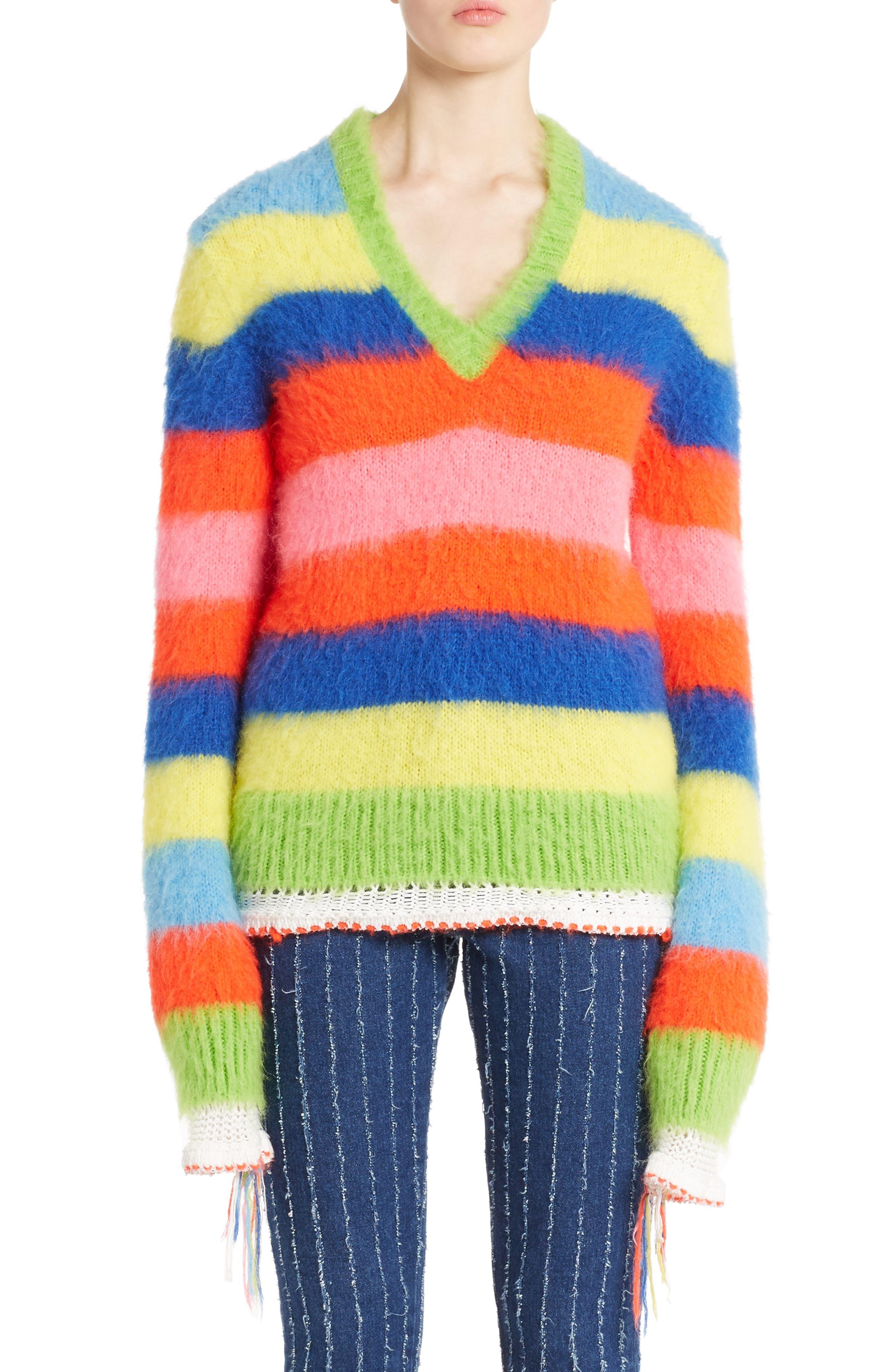 Multi Stripe Sweater,                             Main thumbnail 1, color,                             020