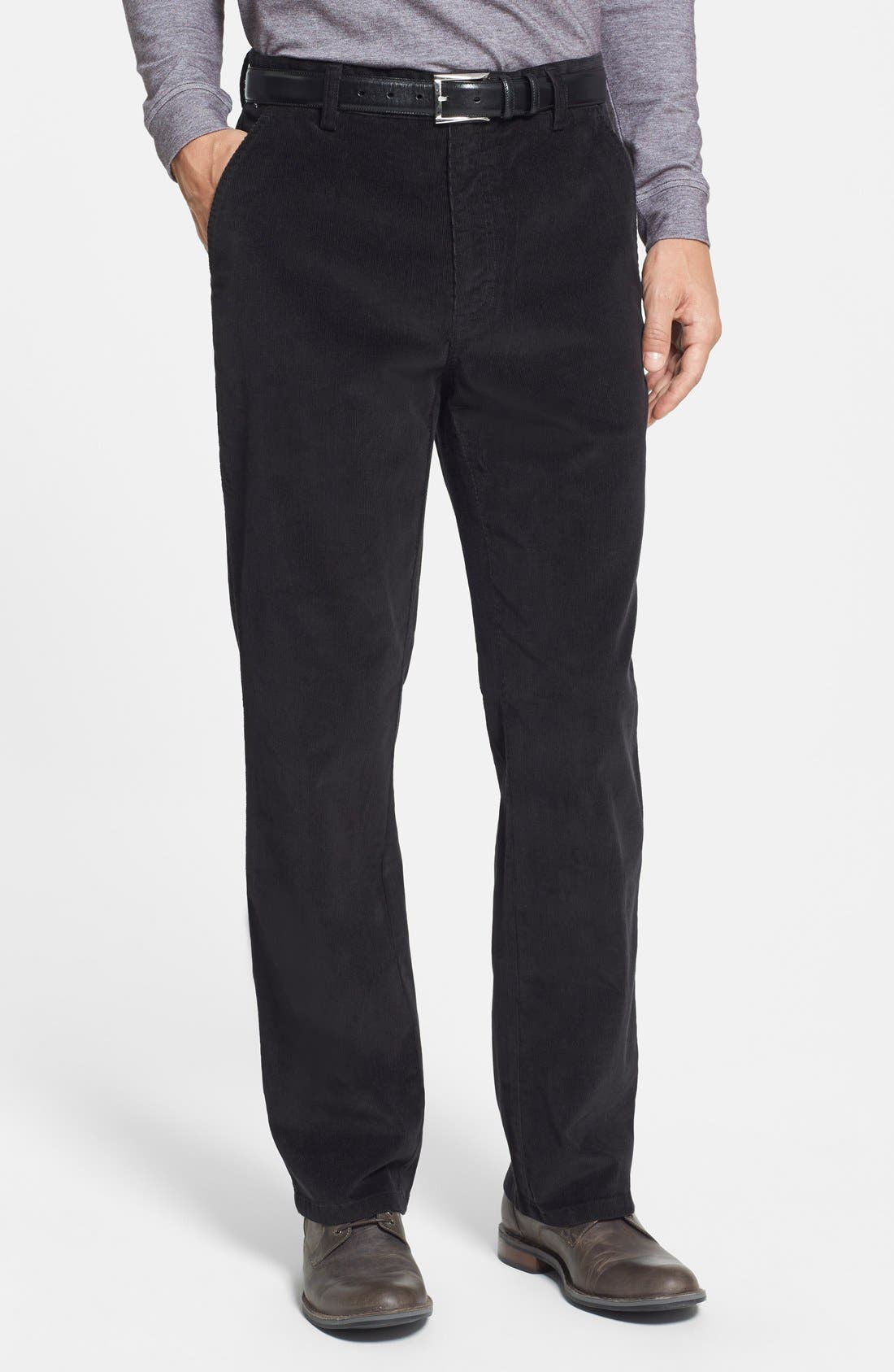 'Walker' Flat Front Straight Leg Corduroy Pants, Main, color, 001