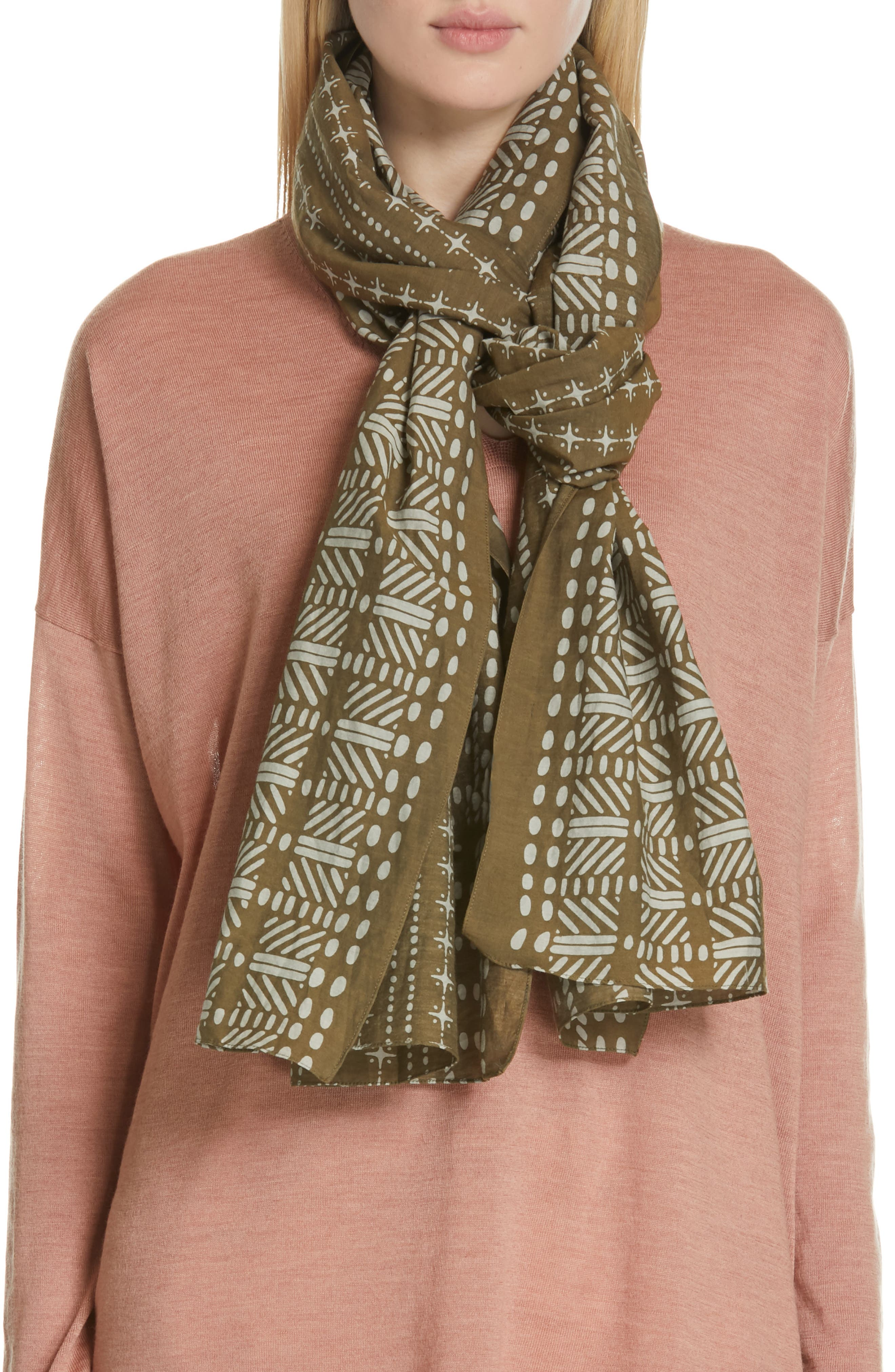 Mixed Print Scarf,                             Alternate thumbnail 6, color,                             OLIVE