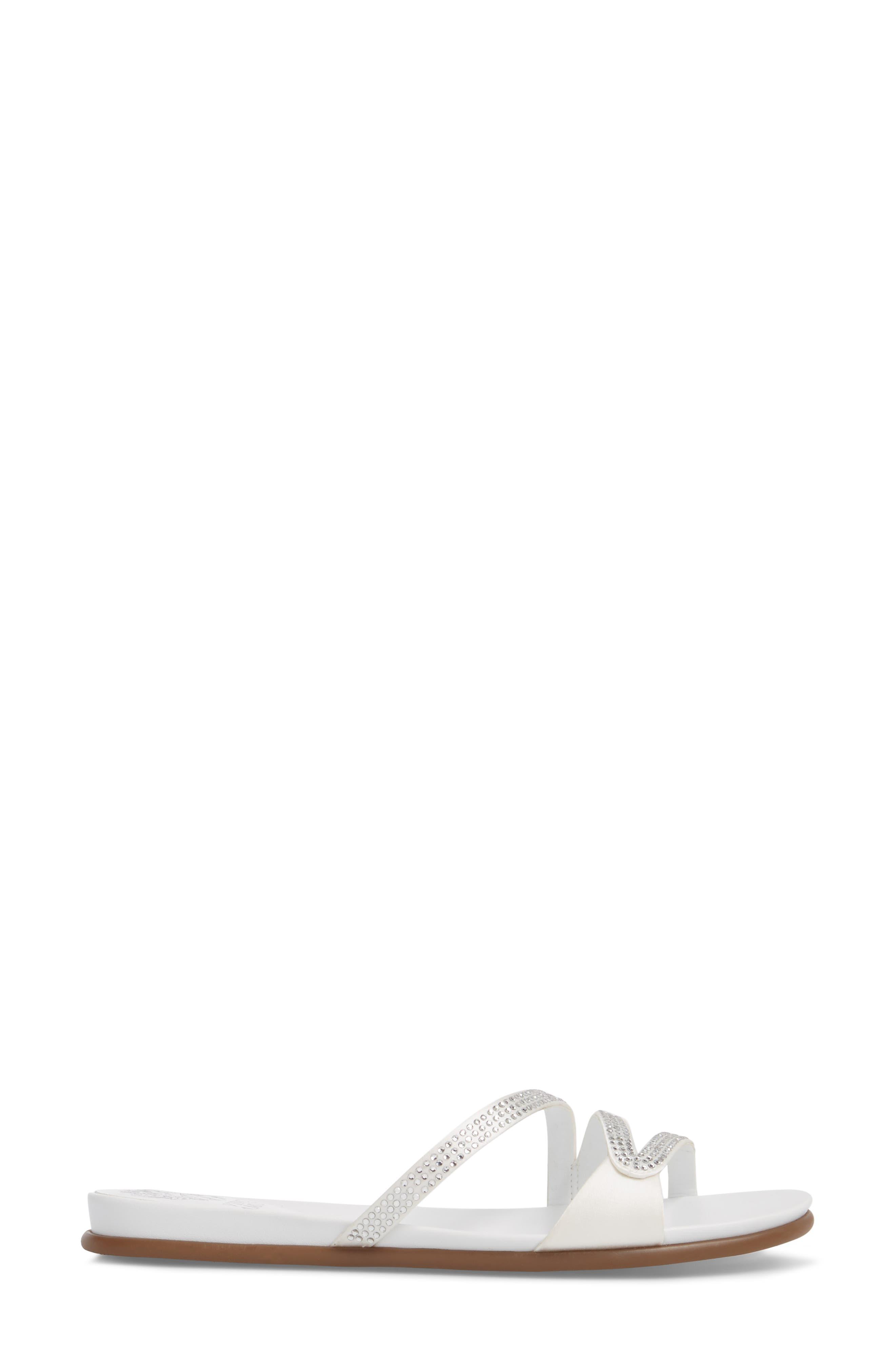 Elouisa Crystal Slide Sandal,                             Alternate thumbnail 3, color,                             PURE SATIN