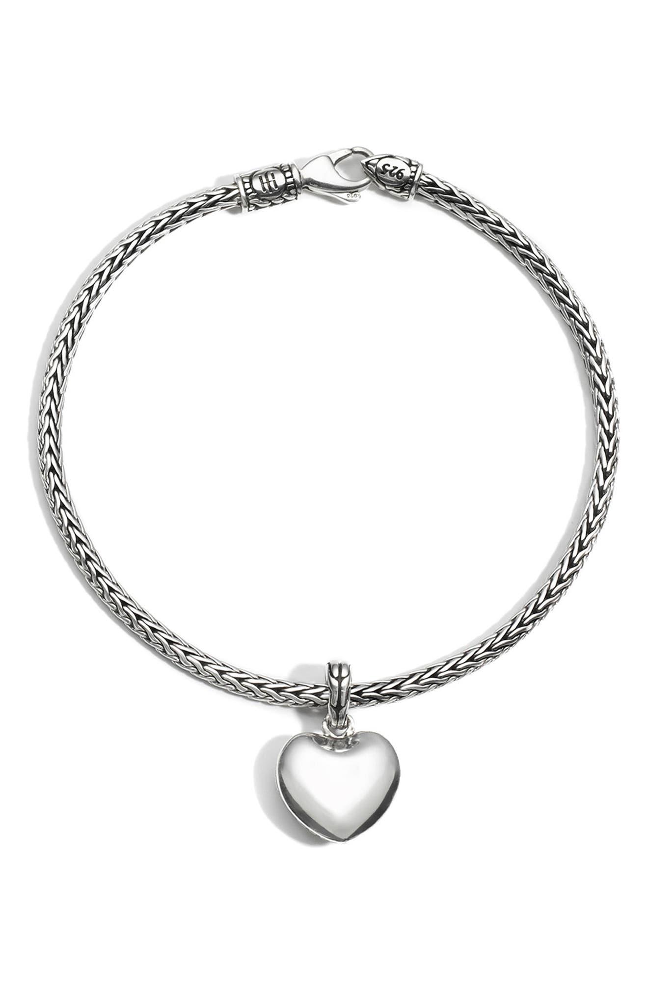Heart Charm Chain Bracelet,                         Main,                         color, SILVER