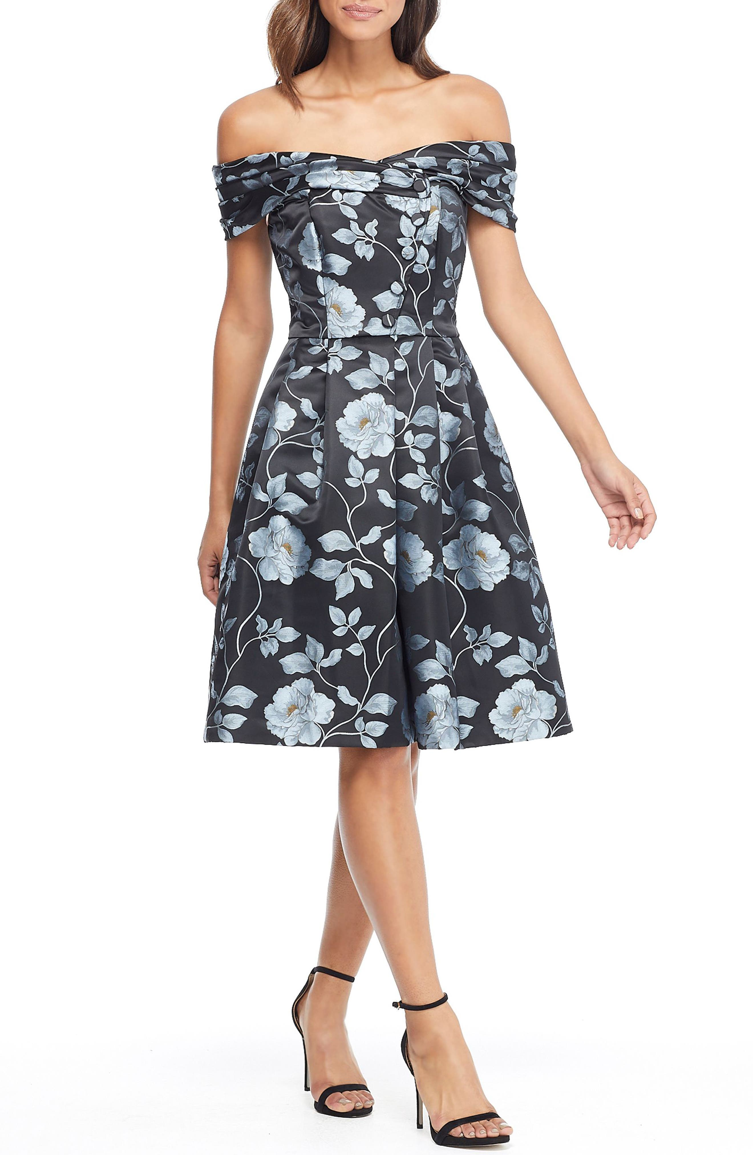 Gal Meets Glam Collection Cora Off The Shoulder Sweet Pea Dress, Blue