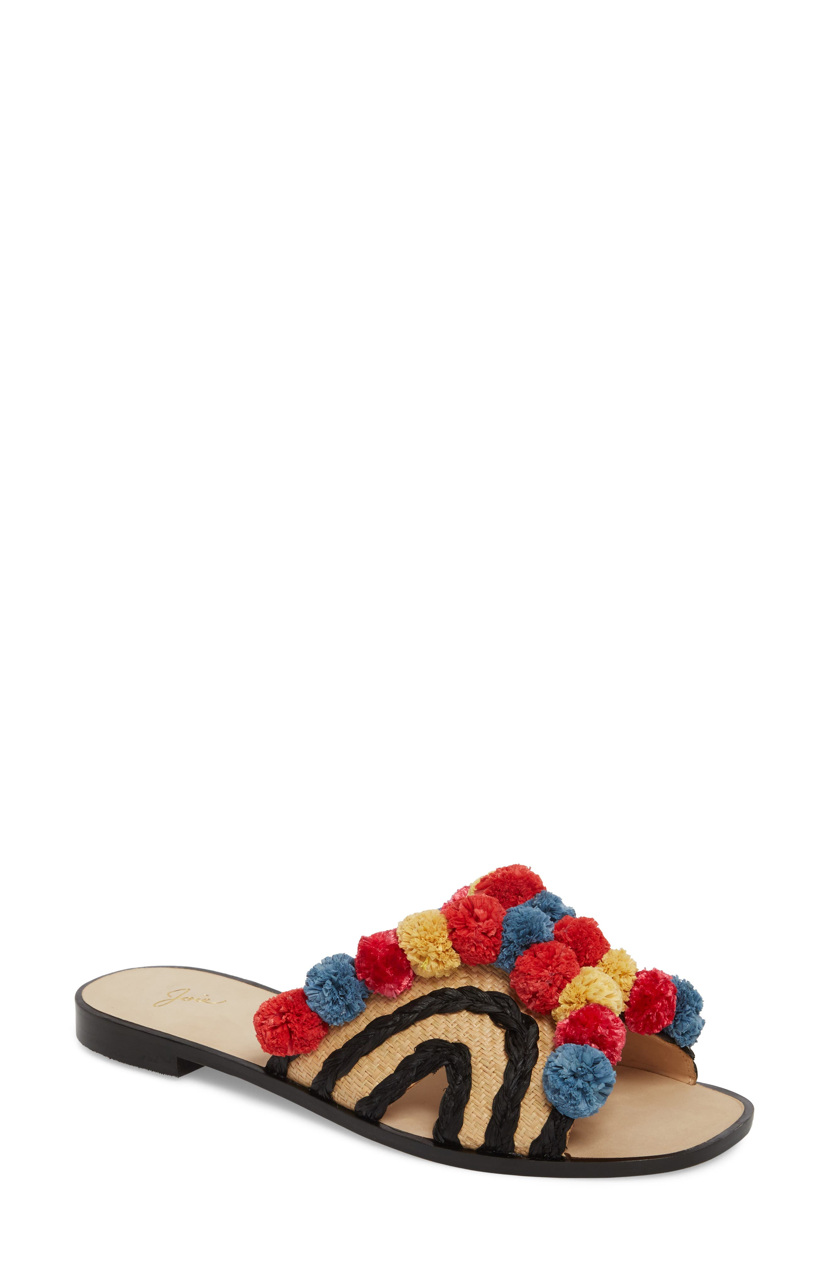 Paden Pompom Slide Sandals,                             Main thumbnail 1, color,                             002