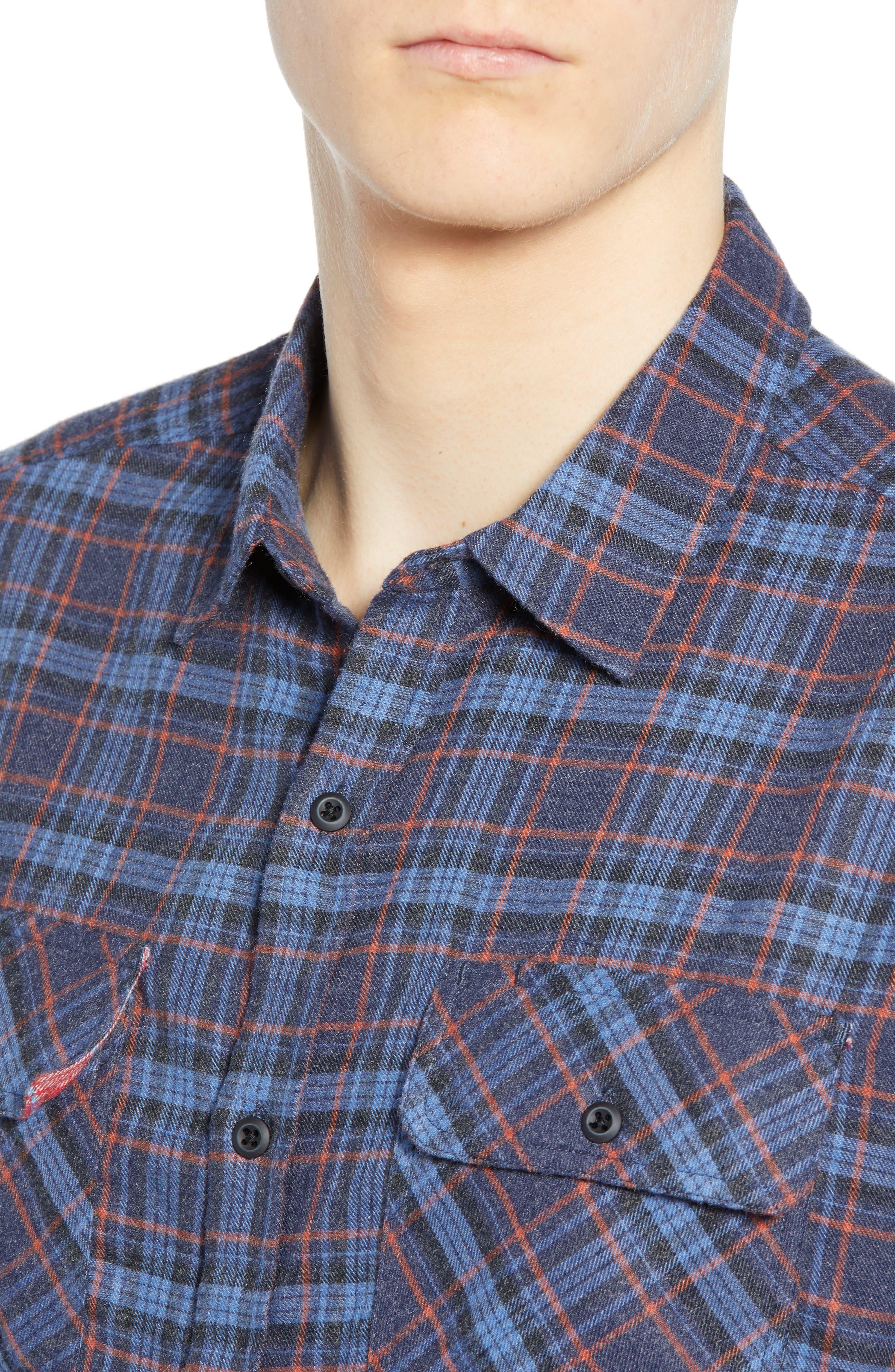 Walker Plaid Flannel Shirt,                             Alternate thumbnail 2, color,                             OIL GREY