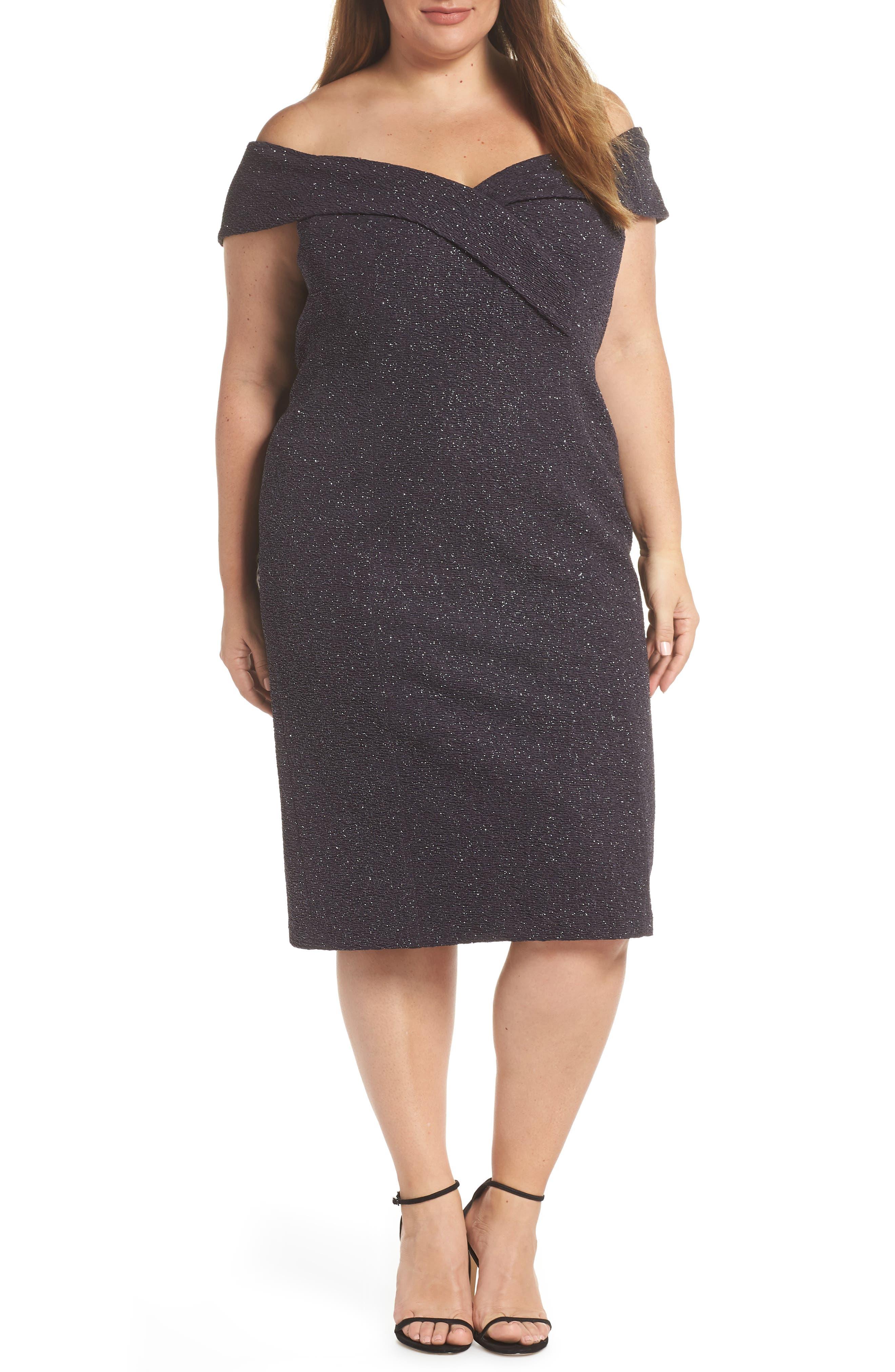 Plus Size Eliza J Off The Shoulder Sheath Dress, Grey