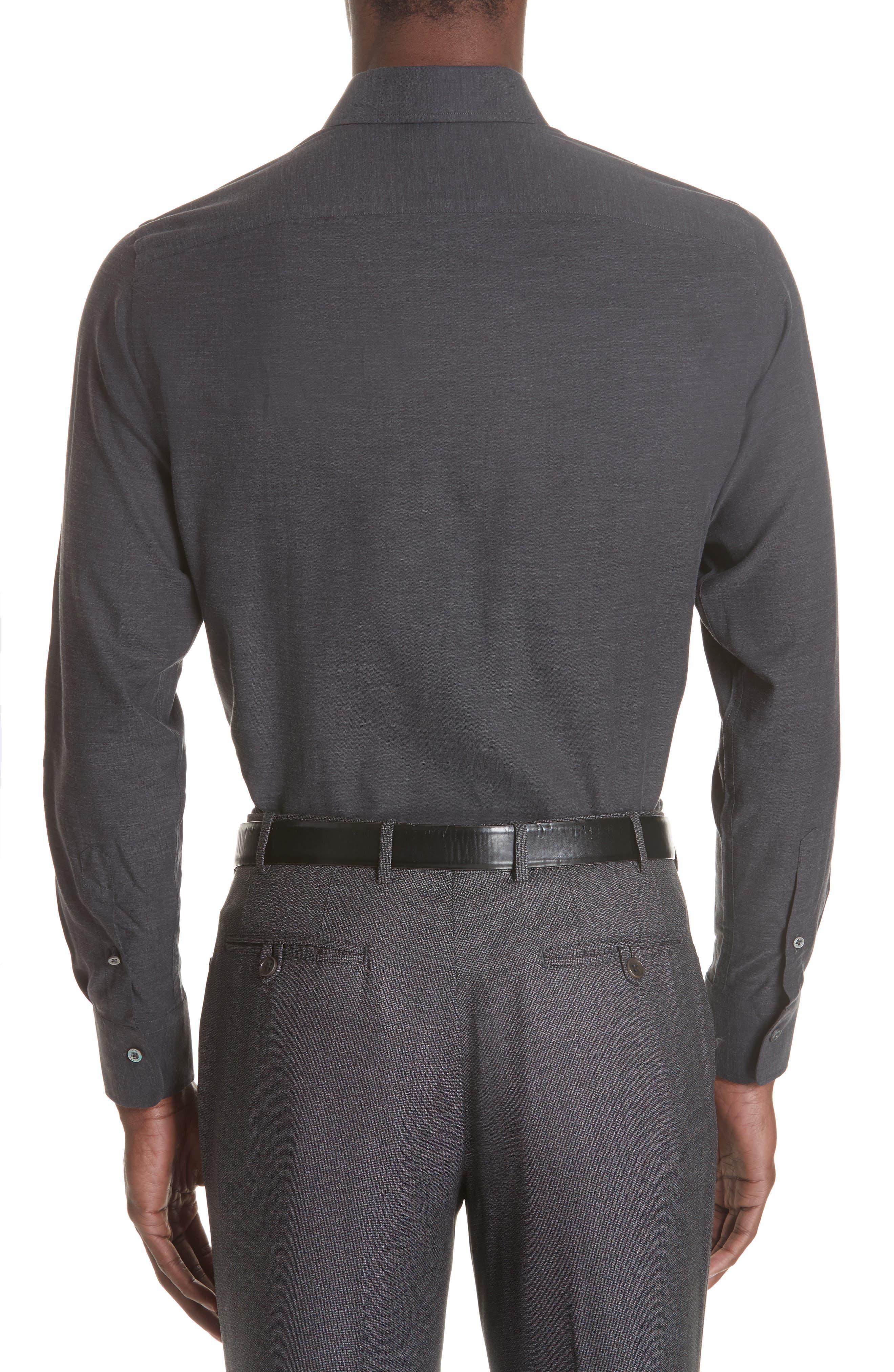 Classic Fit Herringbone Sport Shirt,                             Alternate thumbnail 3, color,                             CHARCOAL