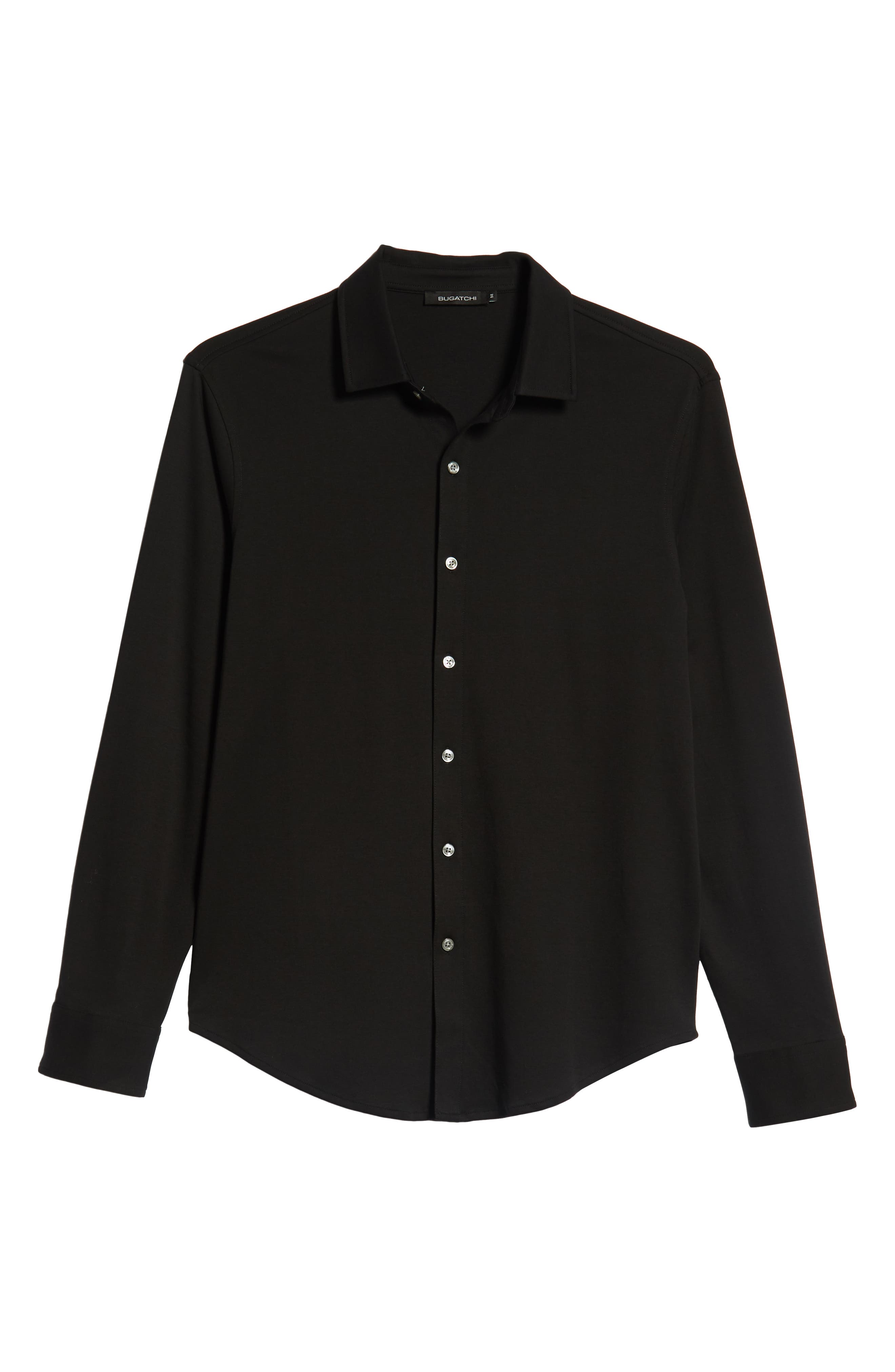 Regular Fit Knit Sport Shirt,                             Alternate thumbnail 5, color,                             BLACK