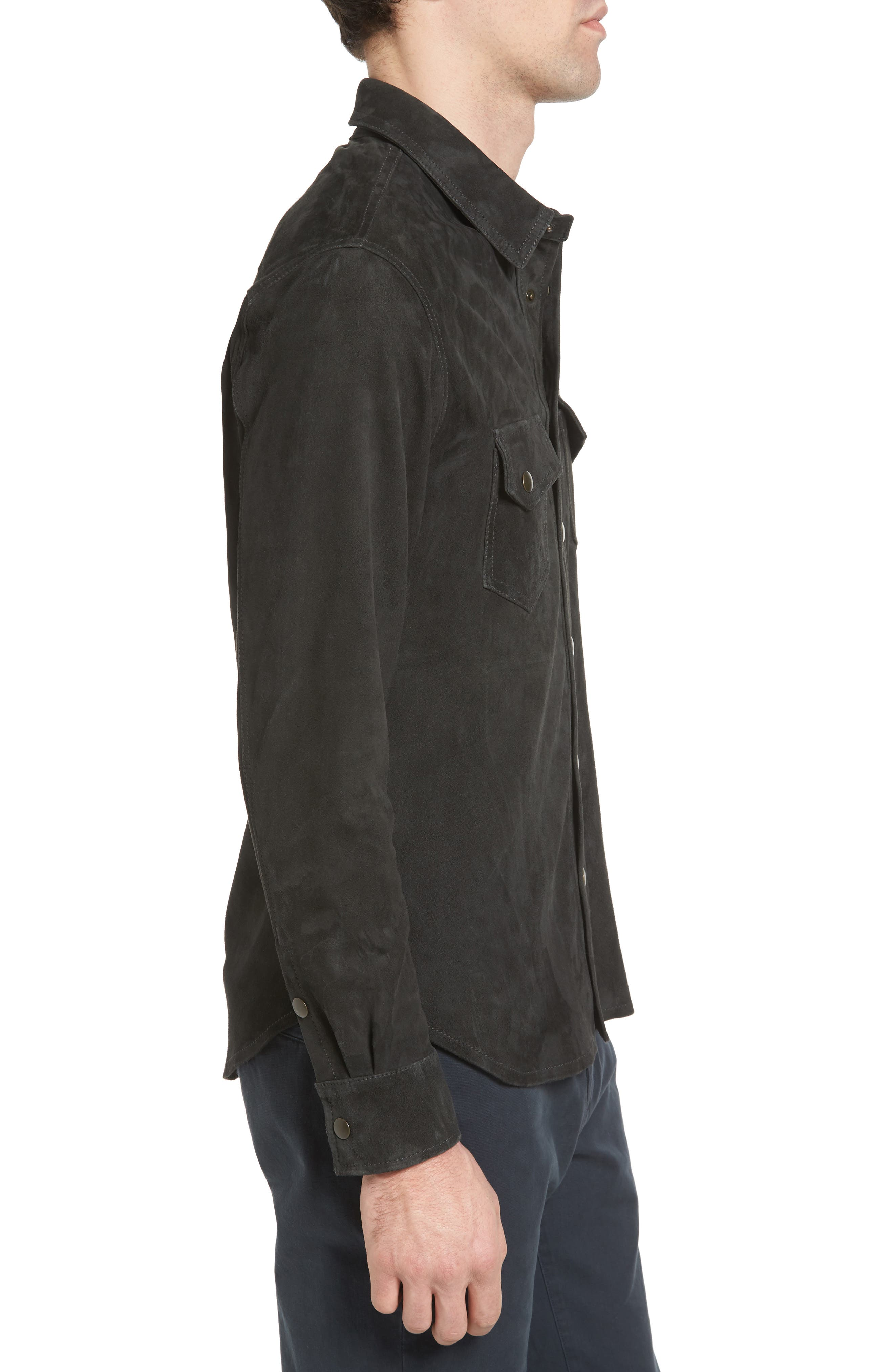 Suede Work Shirt,                             Alternate thumbnail 3, color,                             CHARCOAL