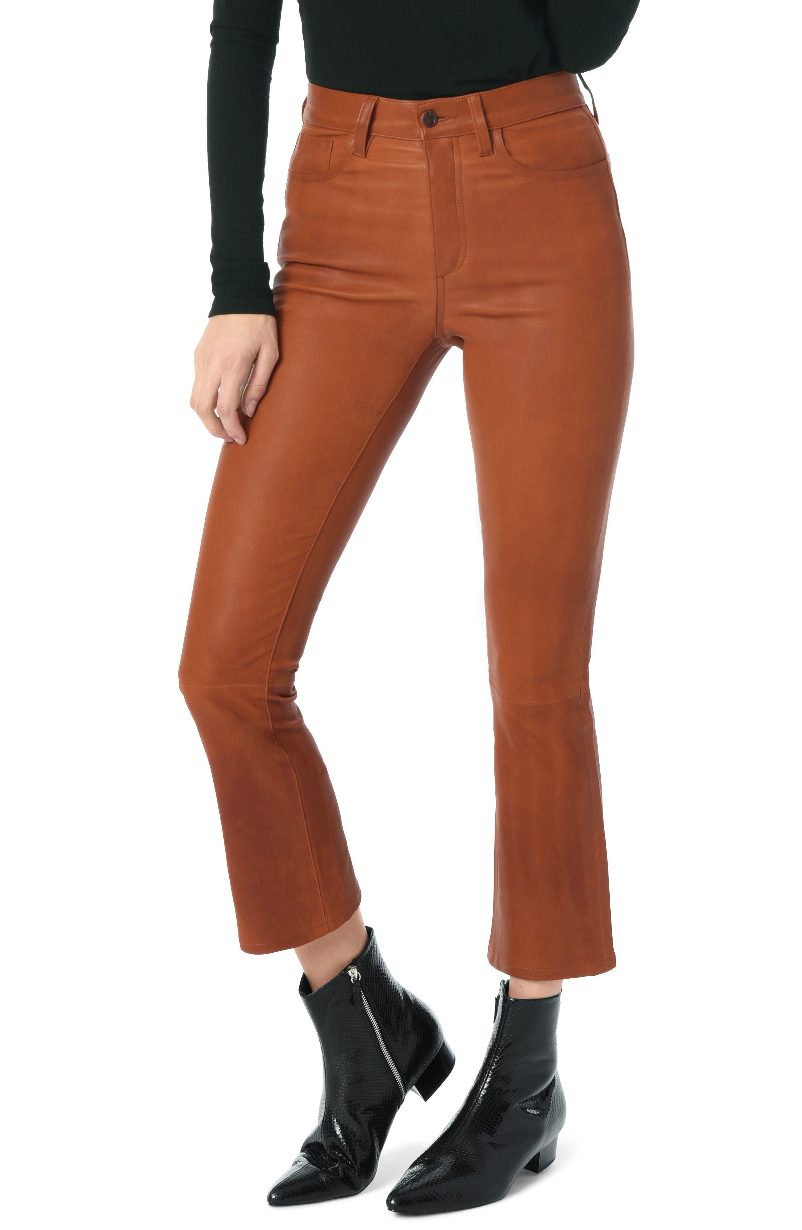 High Waist Crop Bootcut Leather Pants,                             Main thumbnail 1, color,                             COGNAC