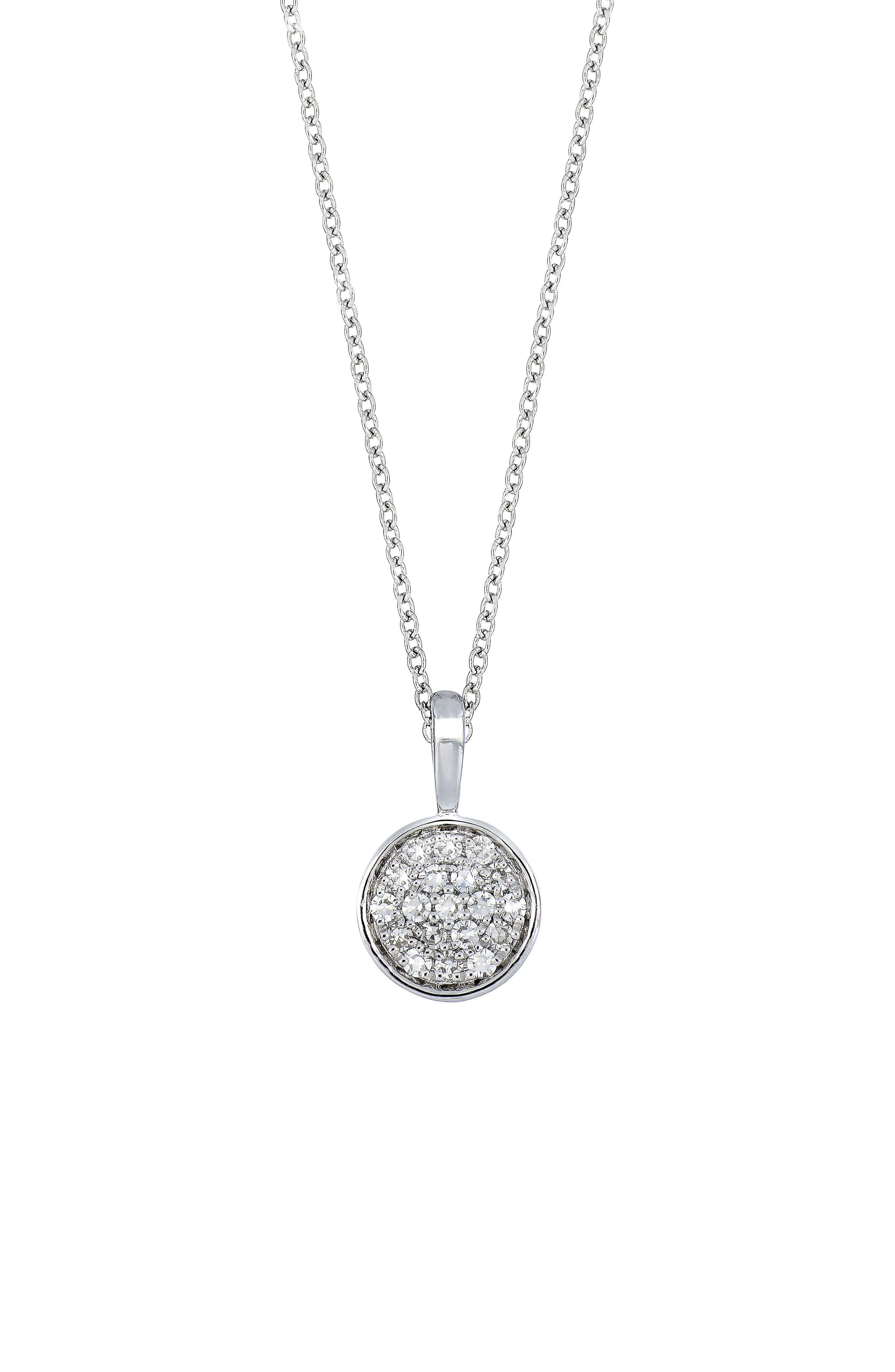 Carrière Diamond Pavè Disc Pendant,                         Main,                         color, STERLING SILVER/ DIAMOND