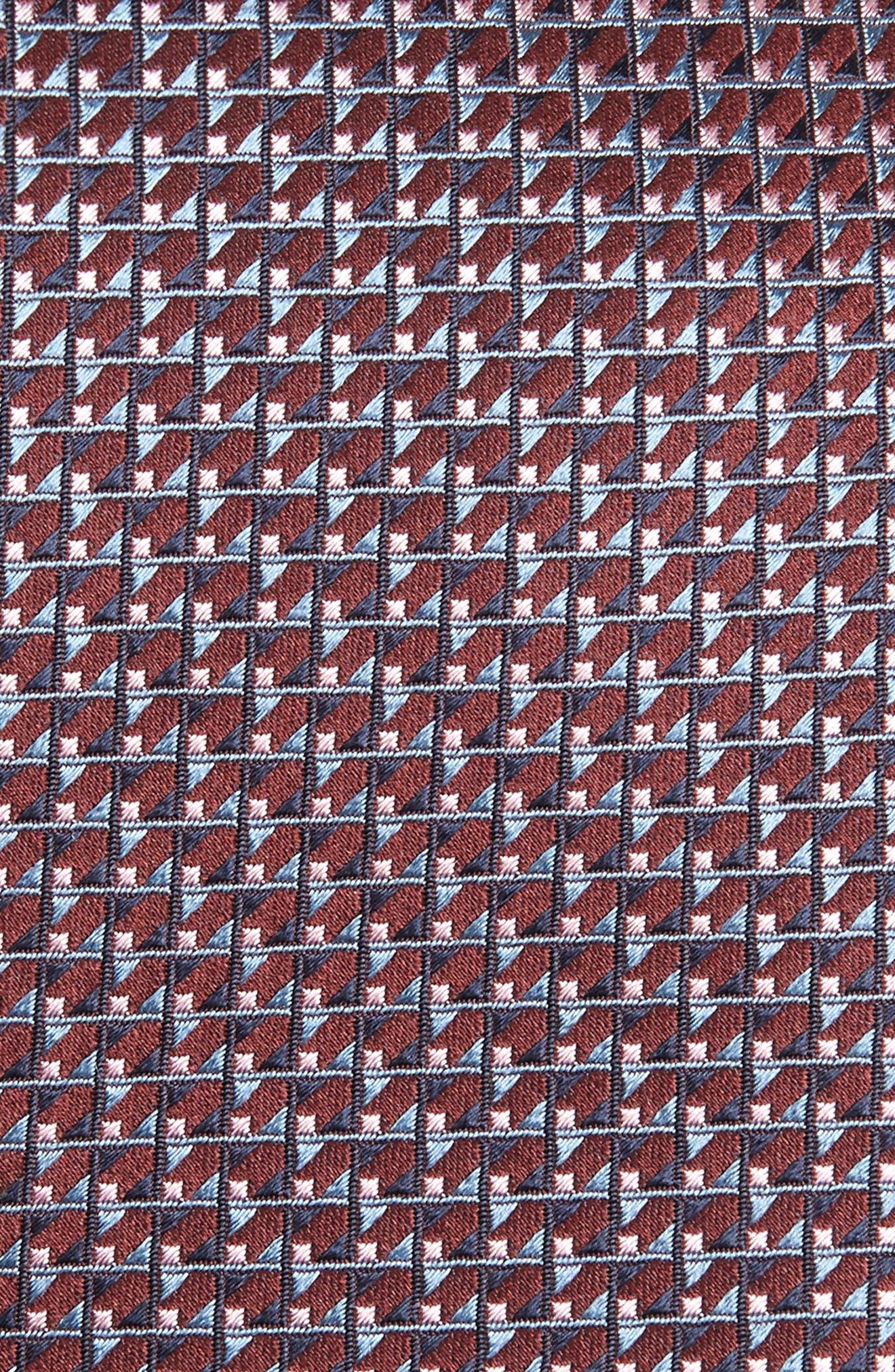 Neat Geometric Silk Tie,                             Alternate thumbnail 2, color,                             BURGUNDY