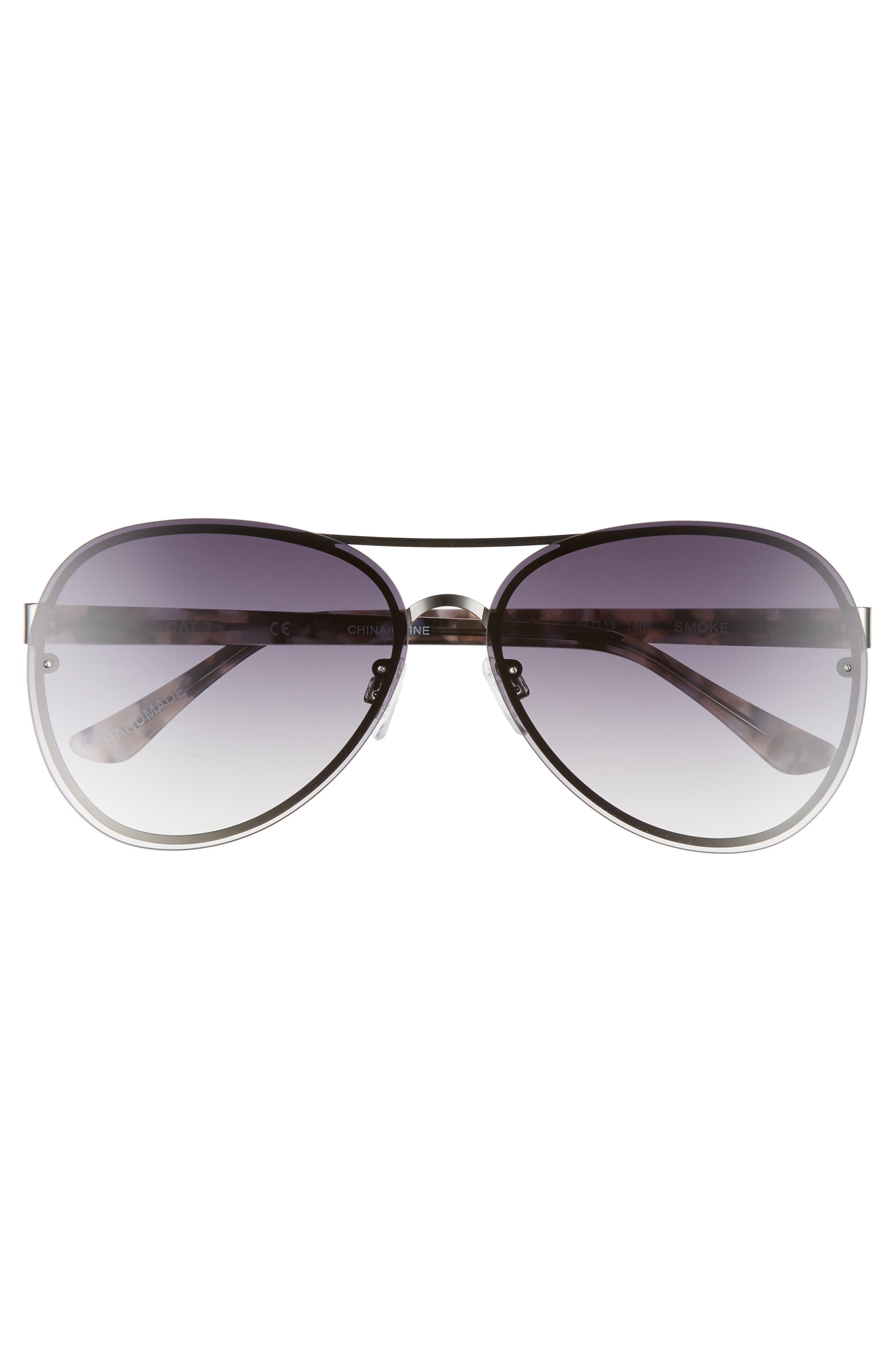 Straight Flush 64mm Aviator Sunglasses,                             Alternate thumbnail 3, color,                             SOLID SMOKE