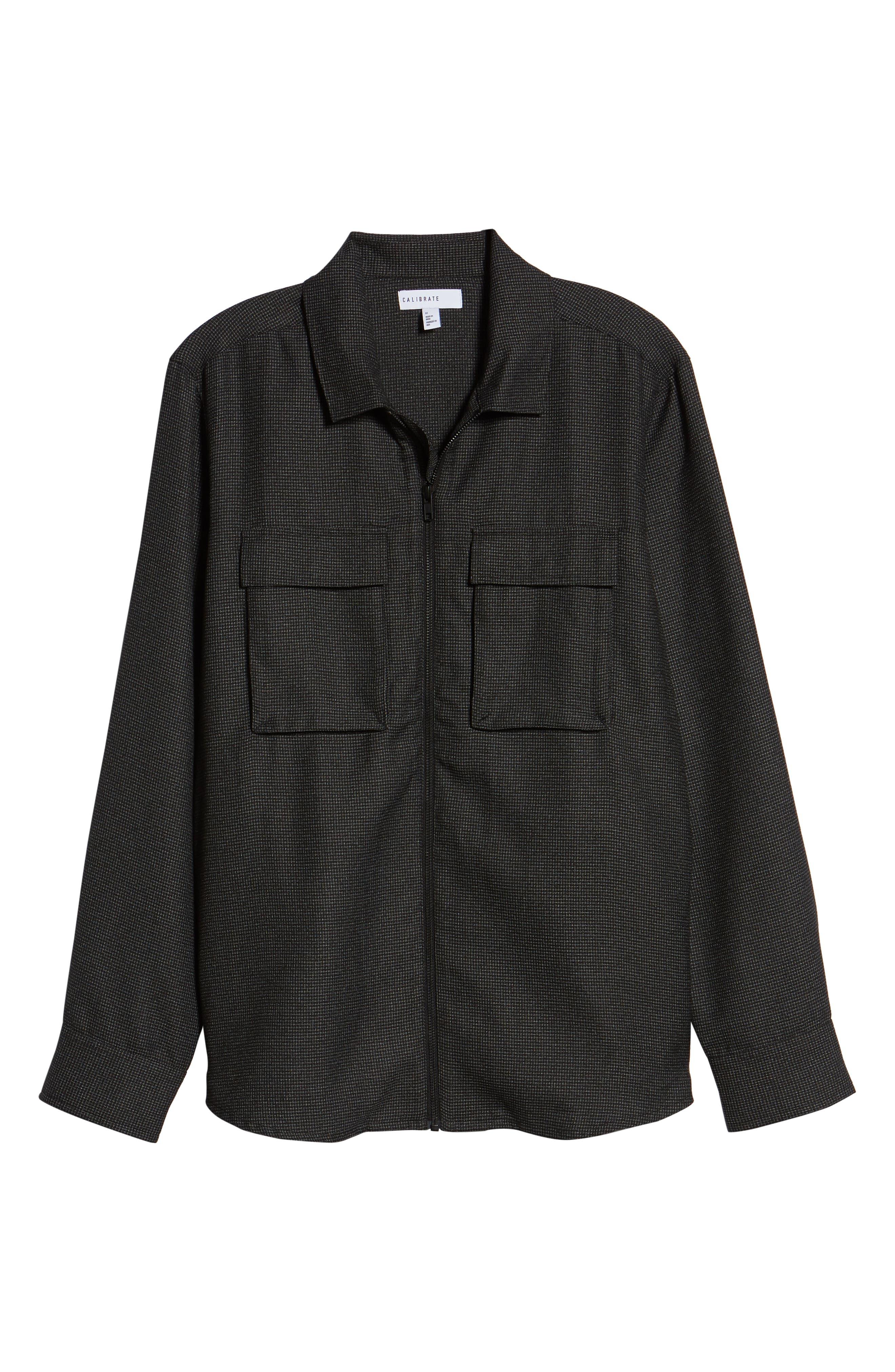 Grid Zip Shirt Jacket,                             Alternate thumbnail 6, color,                             BLACK WHITE GRID