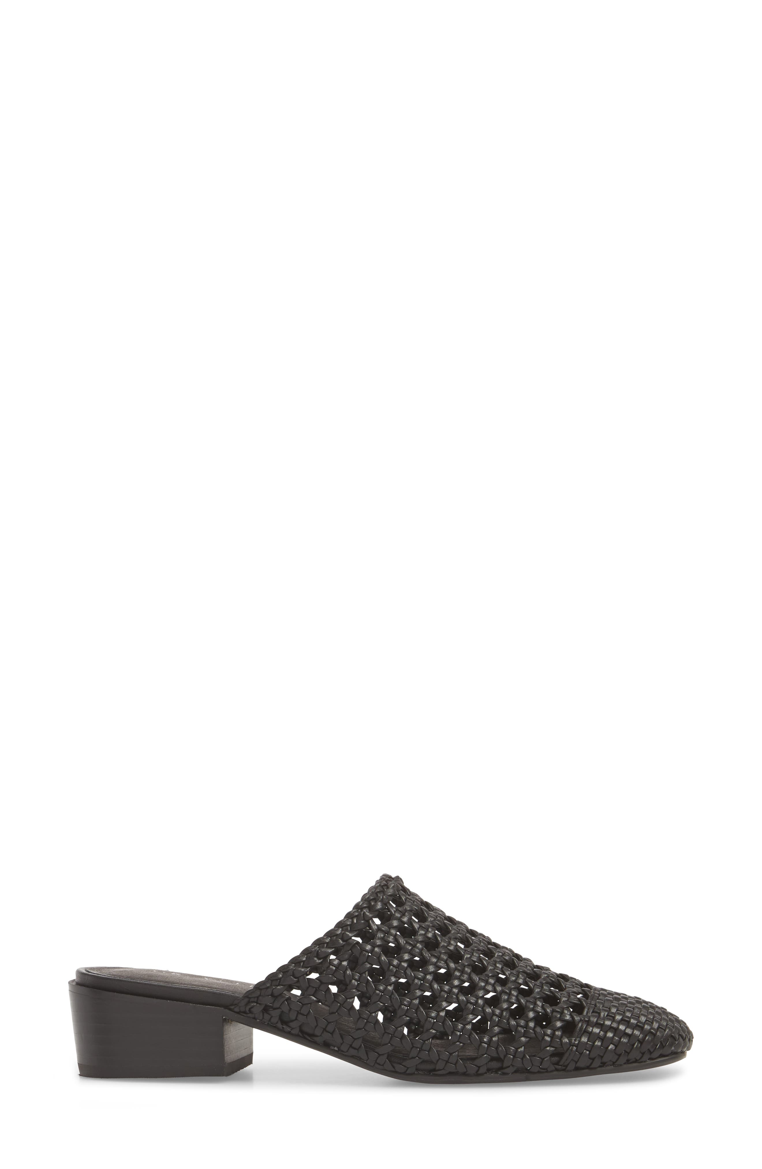 Woven Cap Toe Mule,                             Alternate thumbnail 3, color,                             BLACK