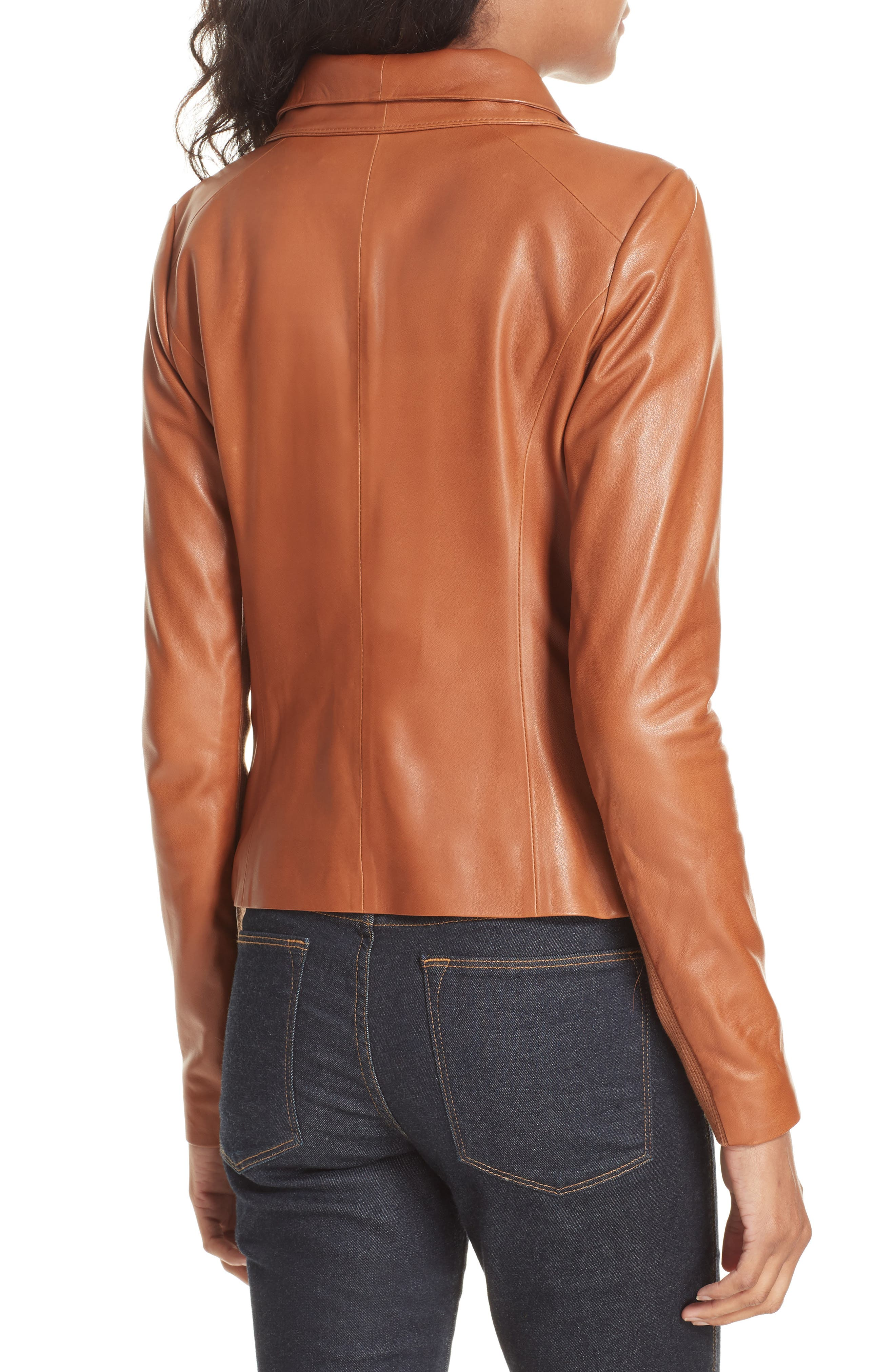 Stand Collar Leather Jacket,                             Alternate thumbnail 2, color,                             RUST BISQUE