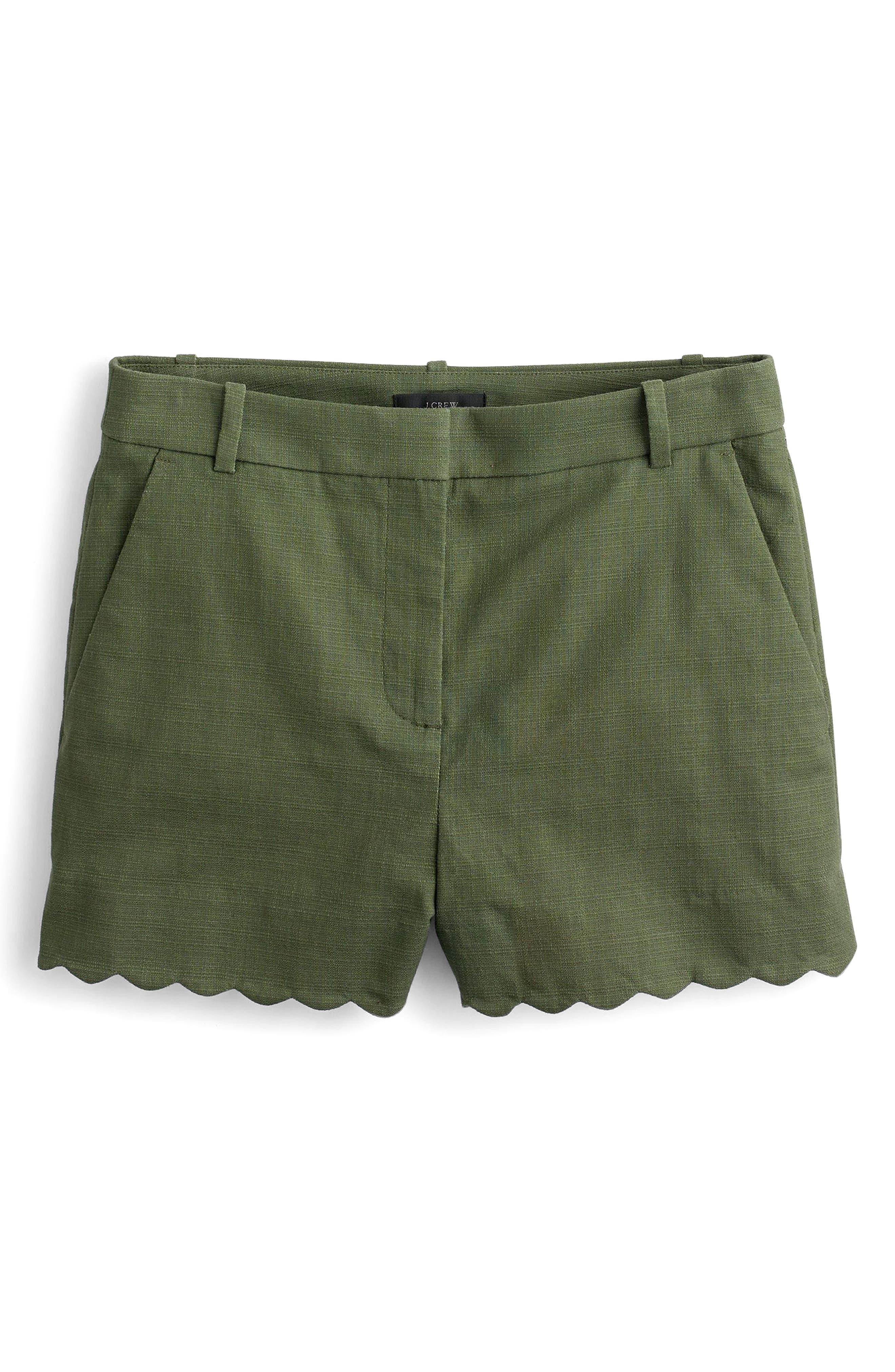 Fiesta Scallop Hem Stretch Cotton Shorts,                             Main thumbnail 3, color,