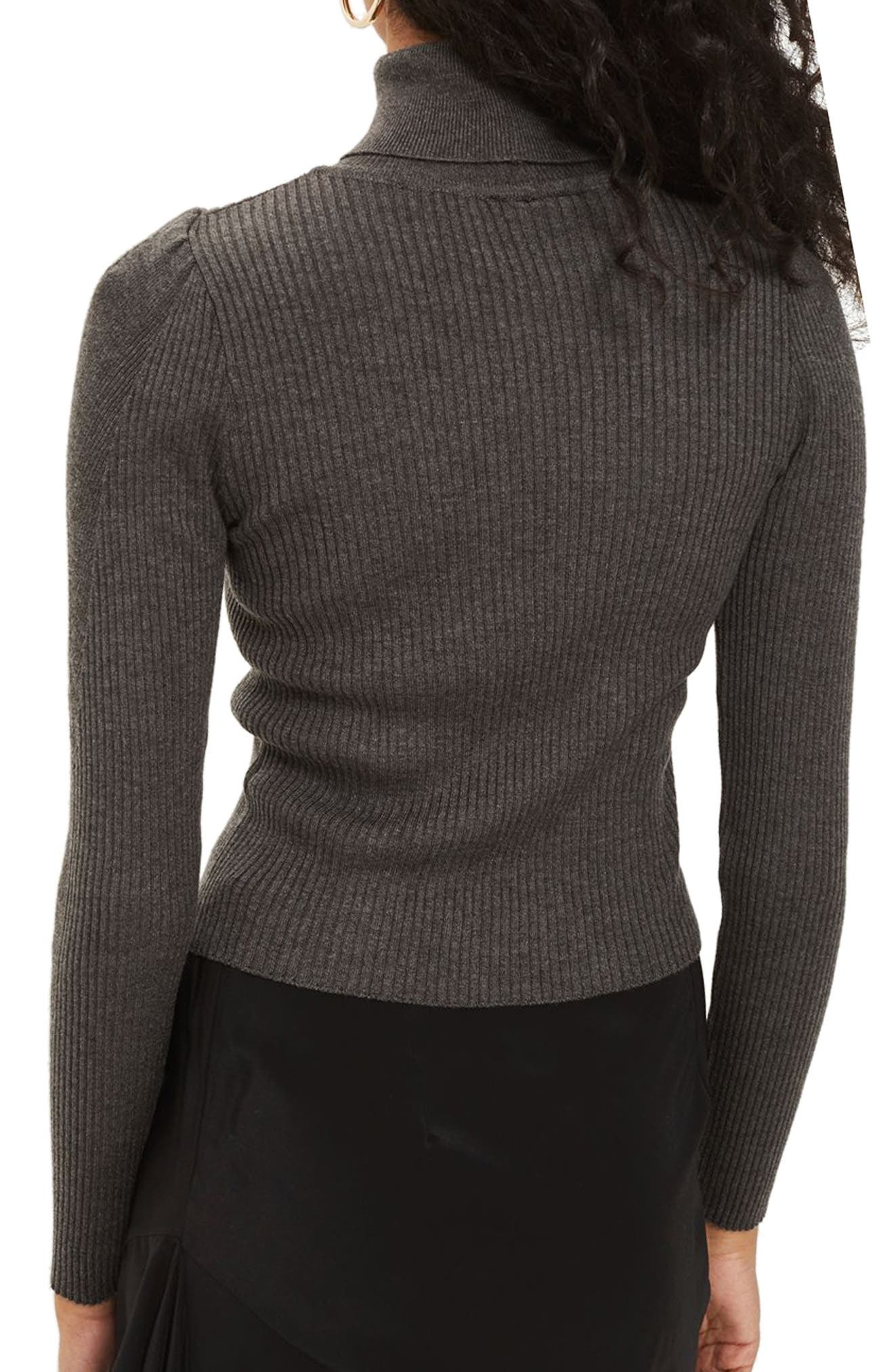 Puff Sleeve Ribbed Turtleneck,                             Alternate thumbnail 2, color,                             021