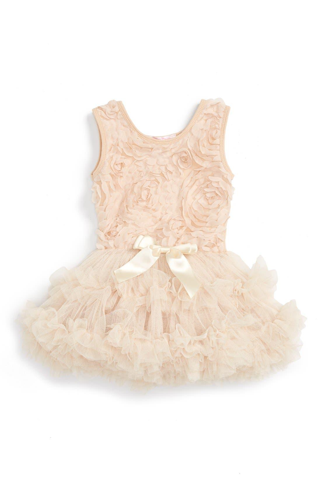 Ribbon Rosette Tutu Dress,                             Main thumbnail 1, color,                             CHAMPAGNE