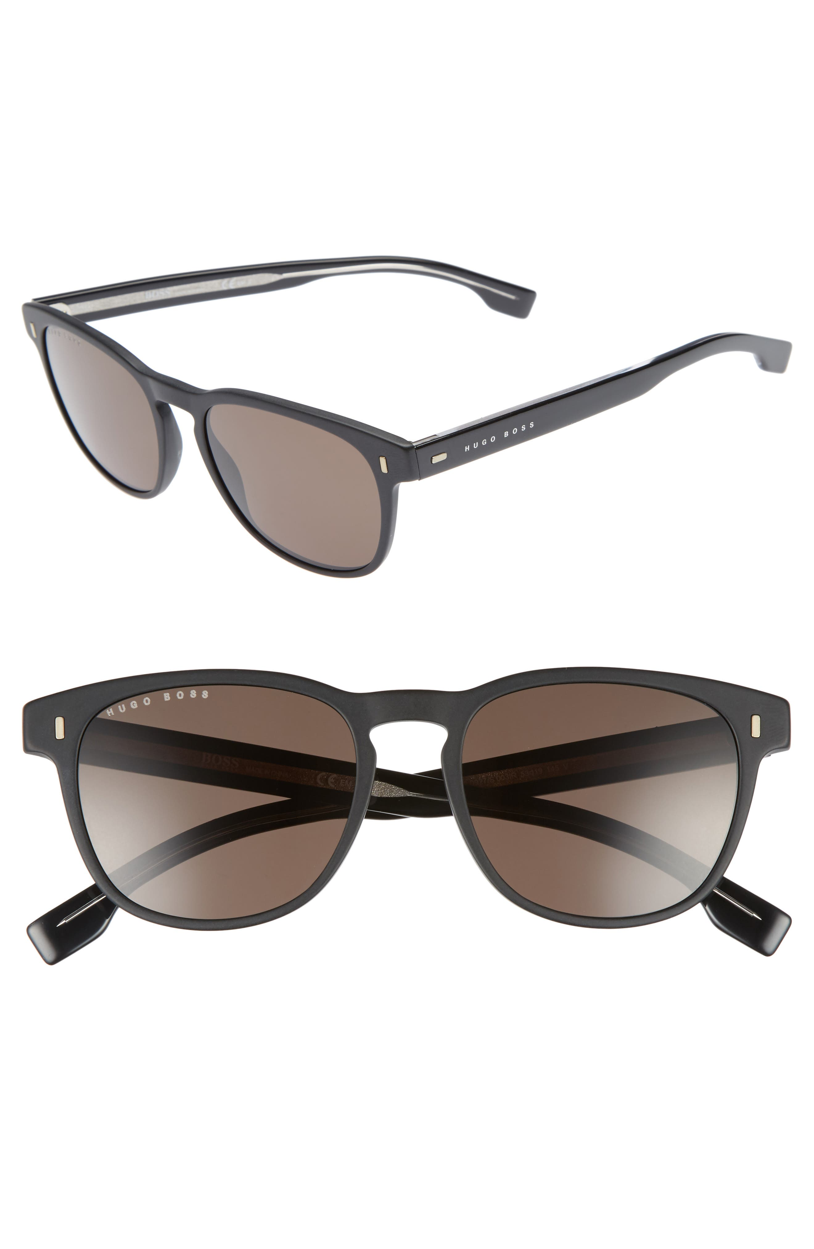 B0926S 49mm Polarized Sunglasses,                         Main,                         color, MATTE BLACK/ GRAY BLUE