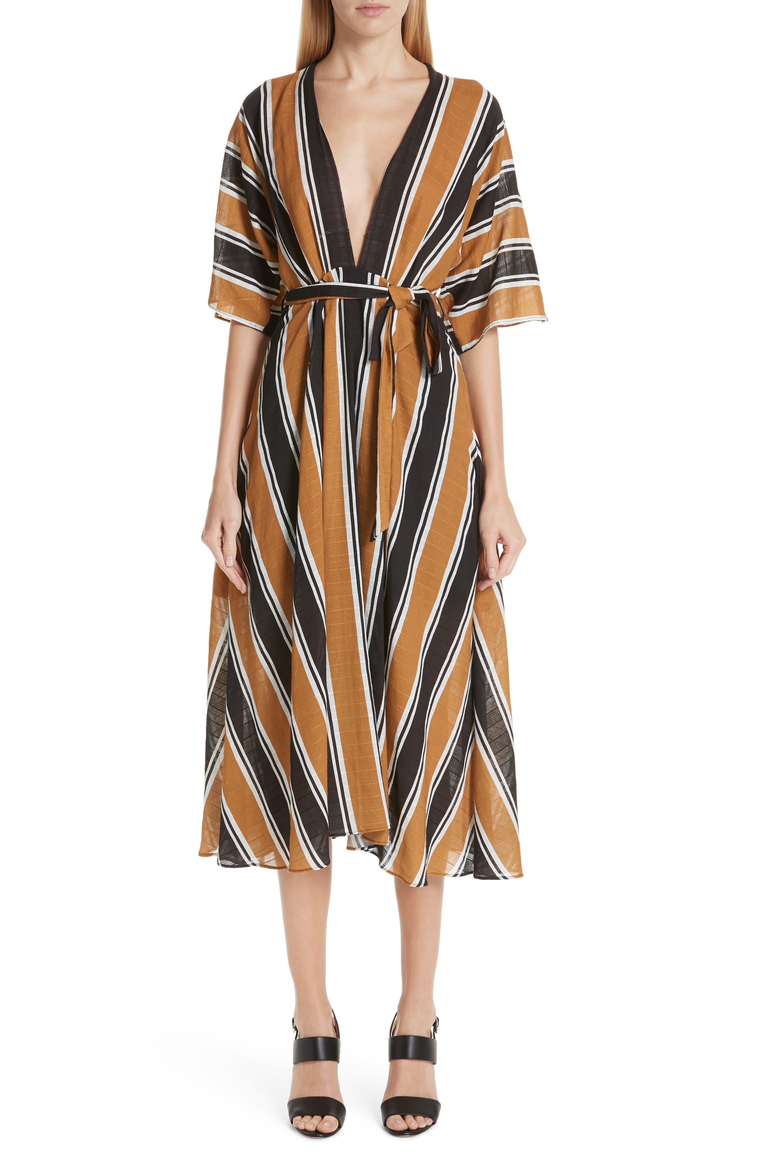 Fuzzi Stripe Belted Dress, US / 46 IT - Black