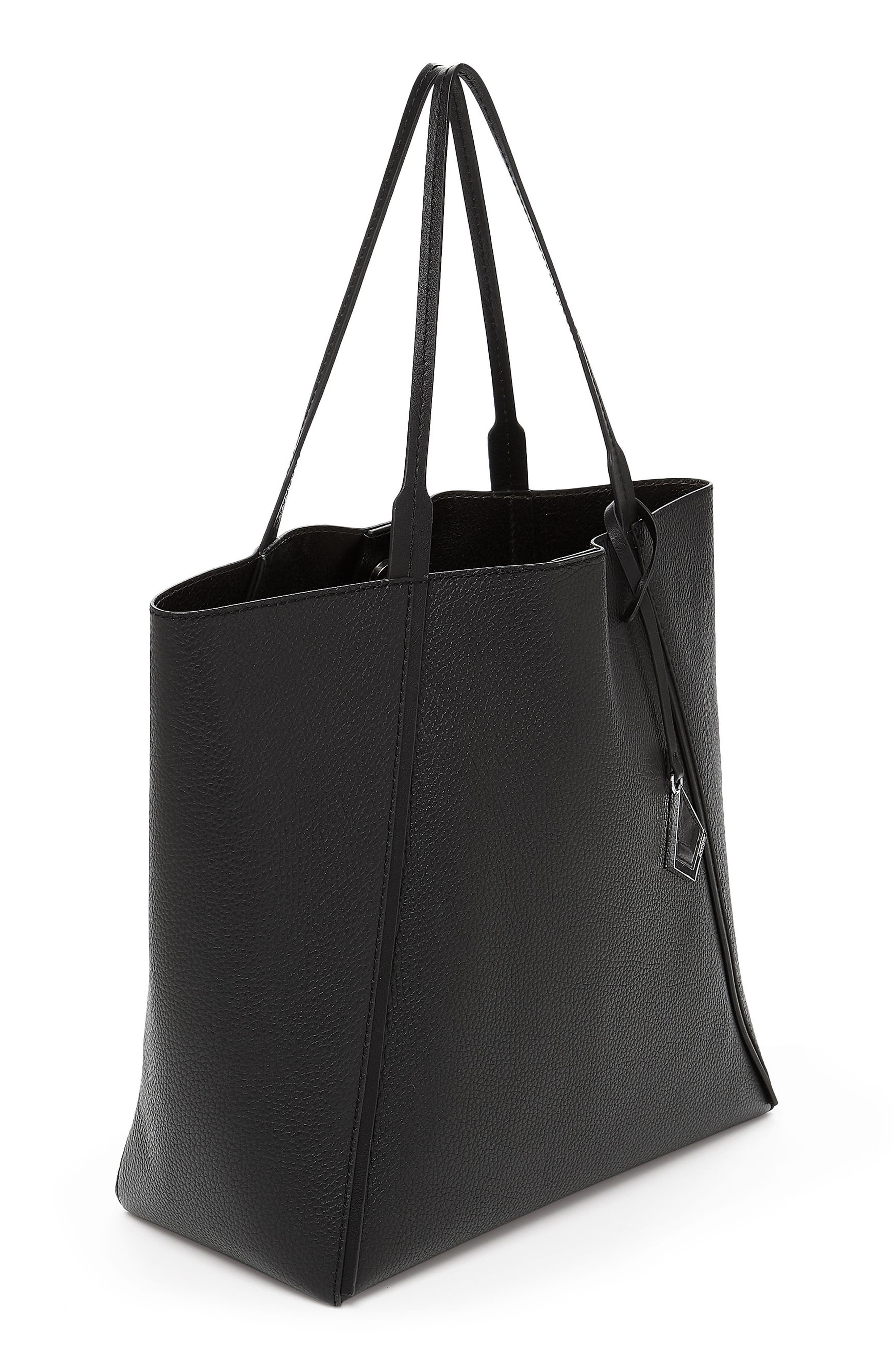 Trinity Calfskin Leather Tote,                             Alternate thumbnail 3, color,                             BLACK