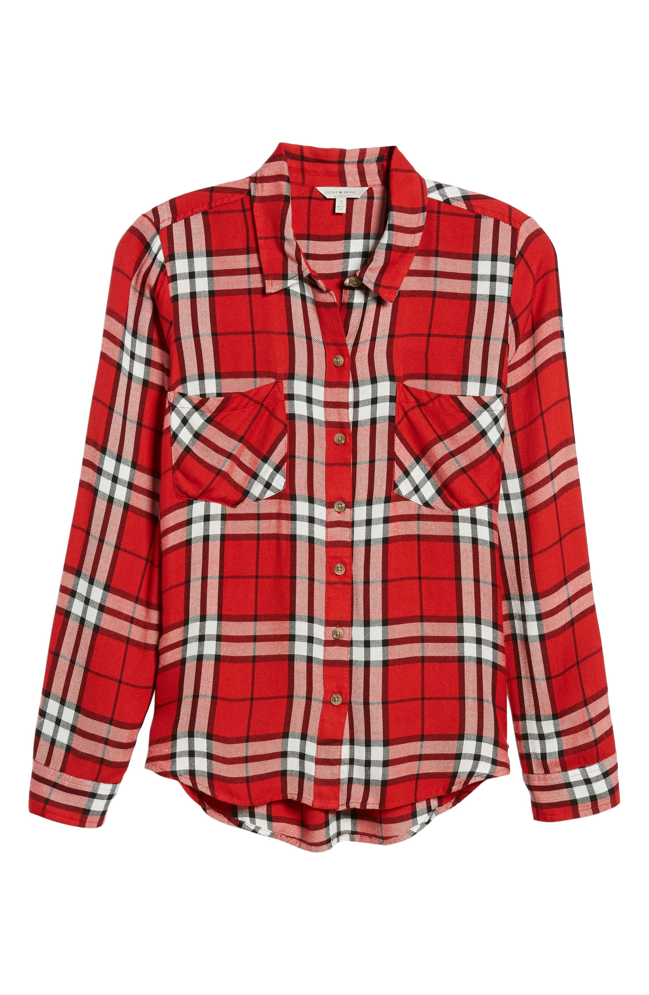 Plaid Shirt,                             Alternate thumbnail 6, color,                             RED MULTI