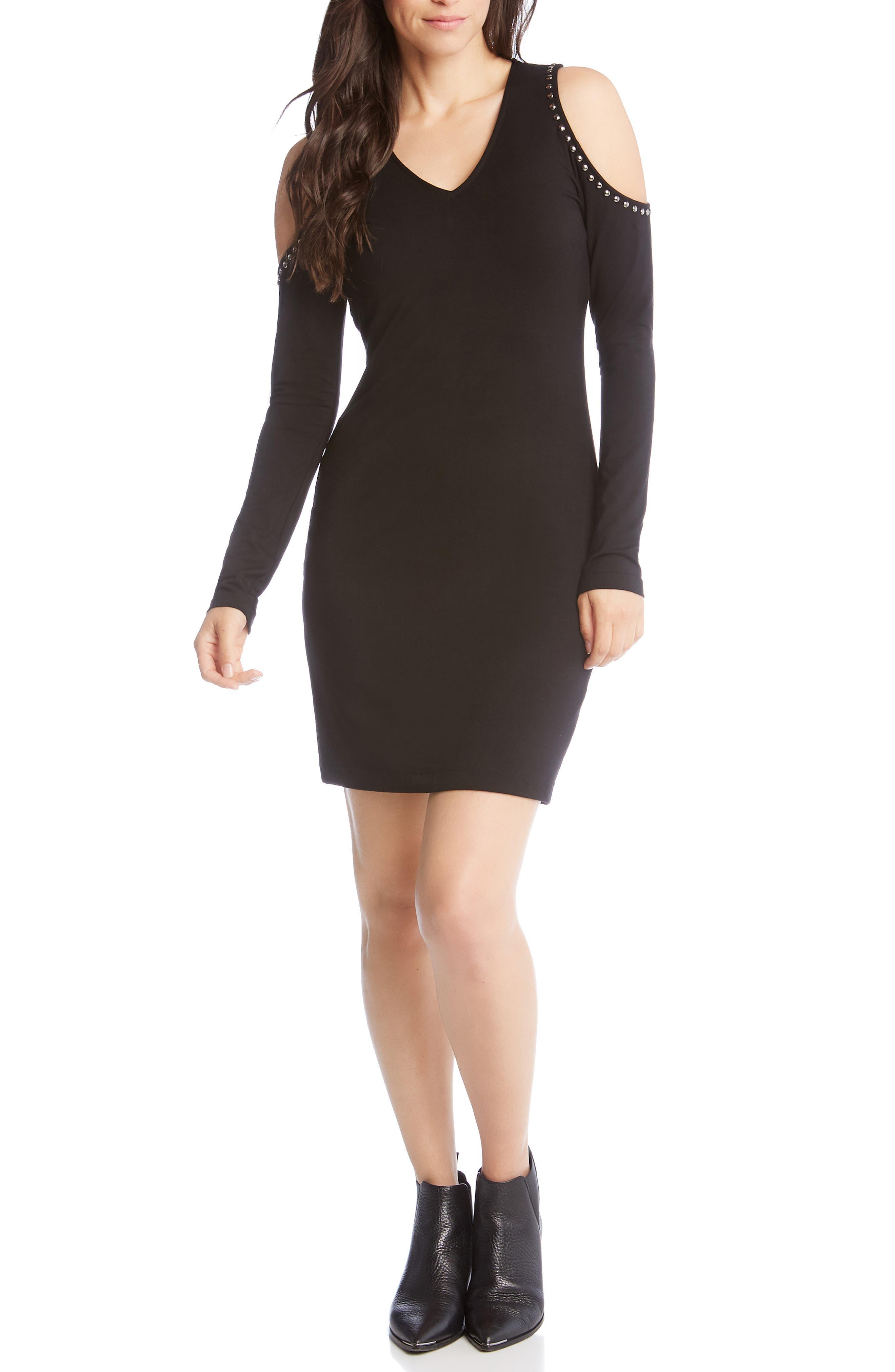 Karen Kane Stud Detail Cold Shoulder Dress, Black