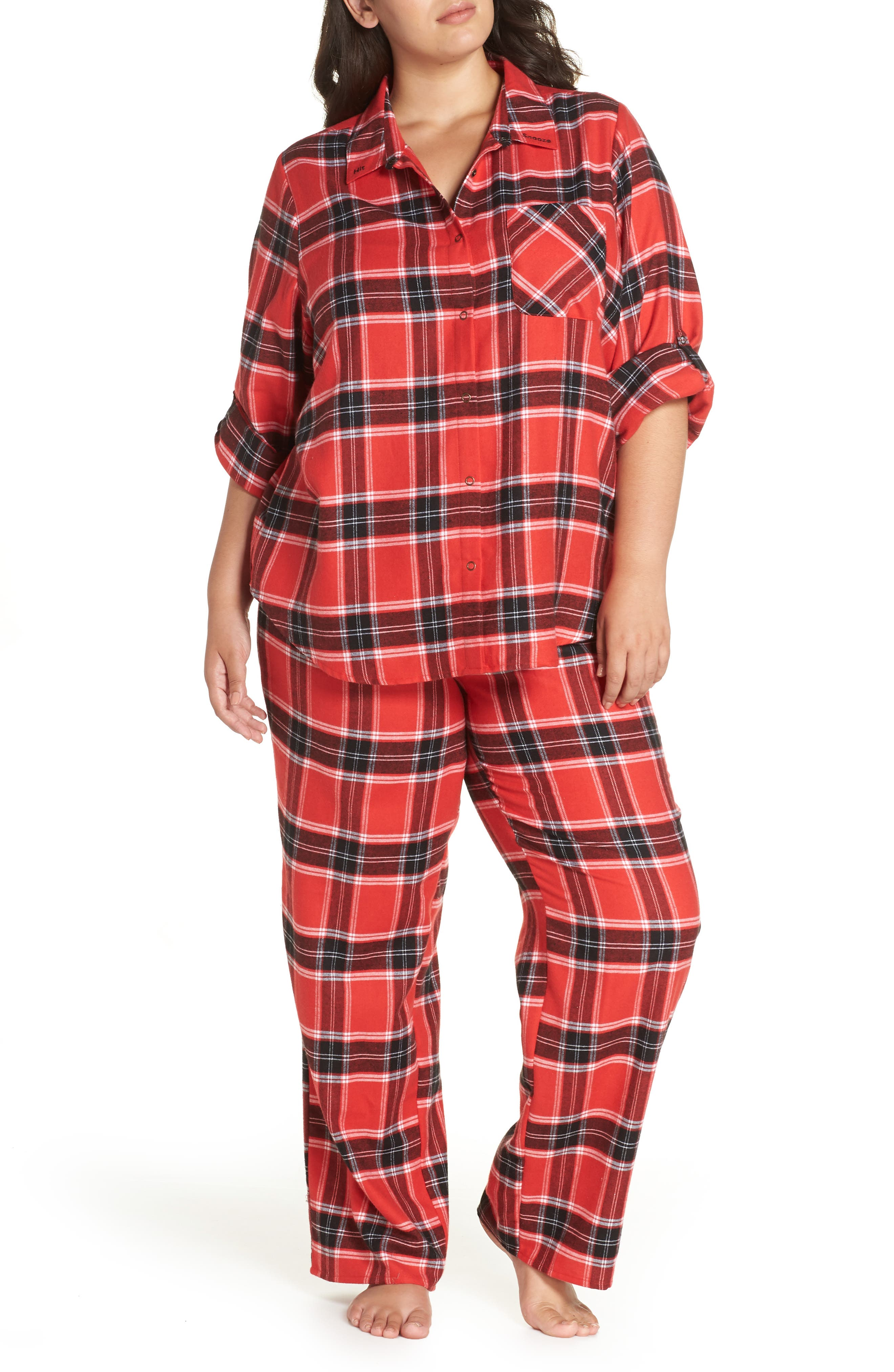 Plus Size Make + Model Flannel Pajamas, Red