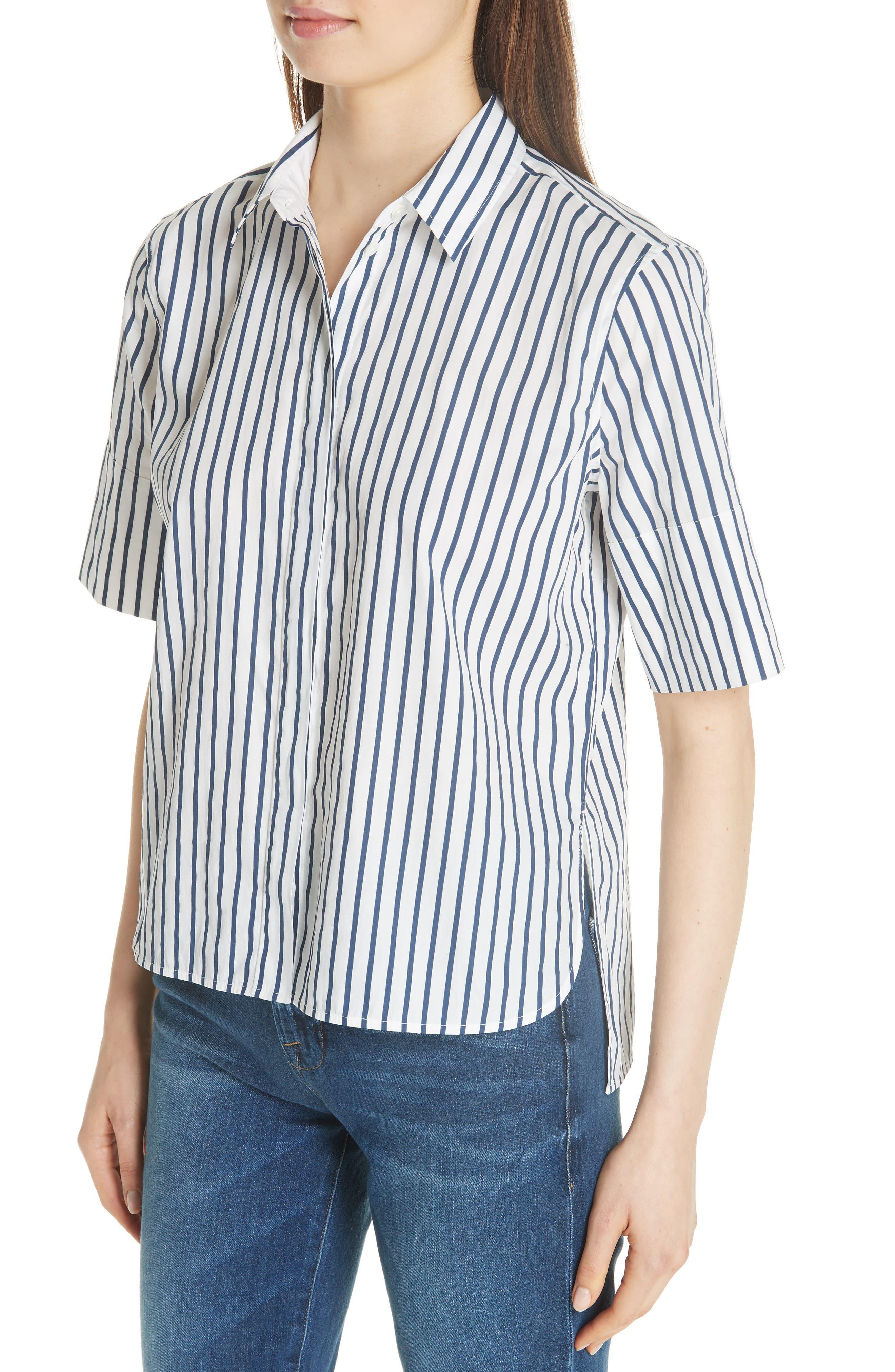 Paulette Short Sleeve Cotton Top,                             Alternate thumbnail 4, color,                             ECLIPSE/ BRIGHT WHITE
