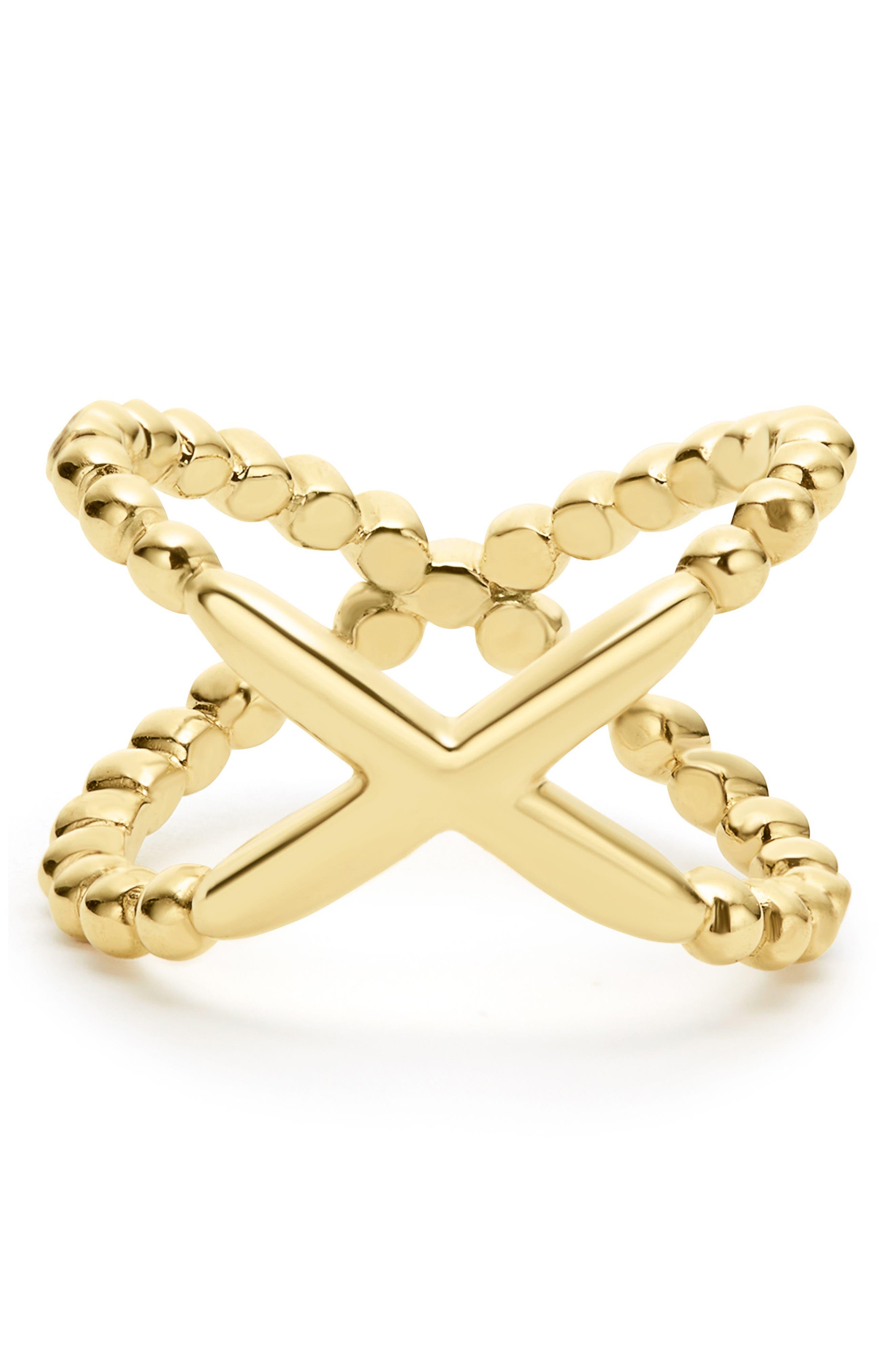 Caviar Crisscross Ring,                             Alternate thumbnail 4, color,                             Gold