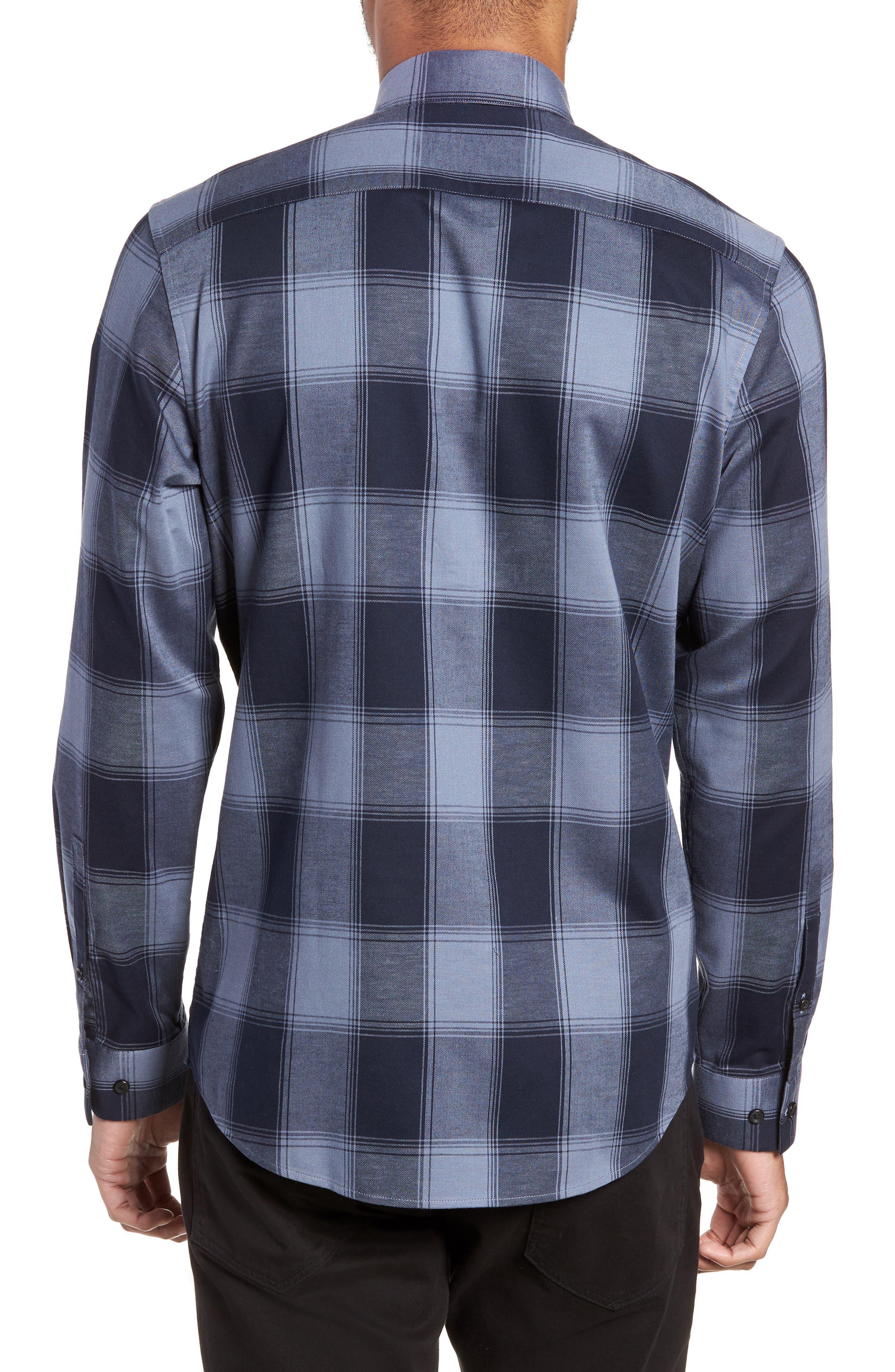 Slim Fit Mini Collar Buffalo Check Flannel Sport Shirt,                             Alternate thumbnail 2, color,                             GREY FOLKSTONE NAVY BUFFALO