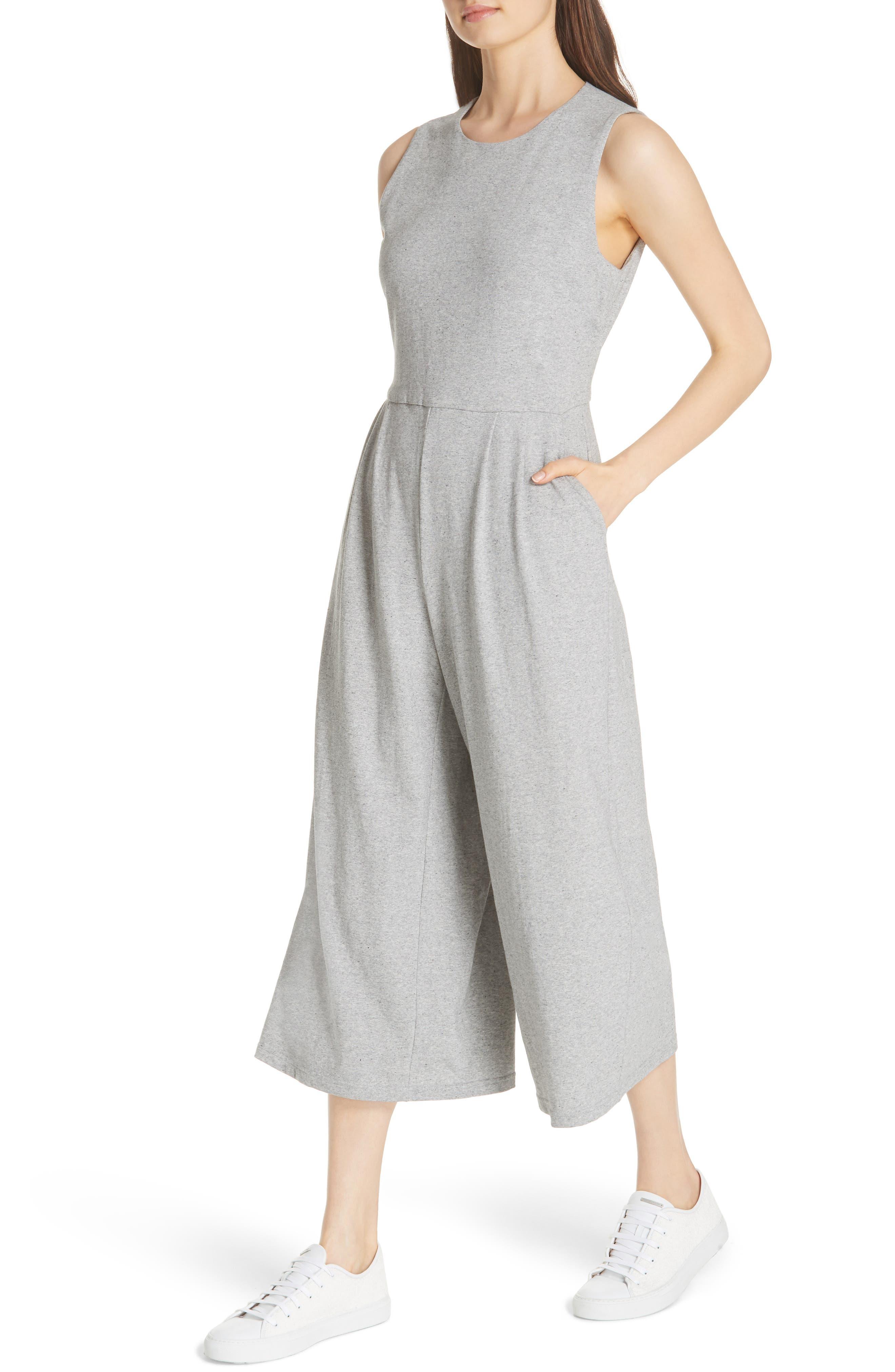 Crop Cotton Knit Jumpsuit,                             Alternate thumbnail 4, color,                             087