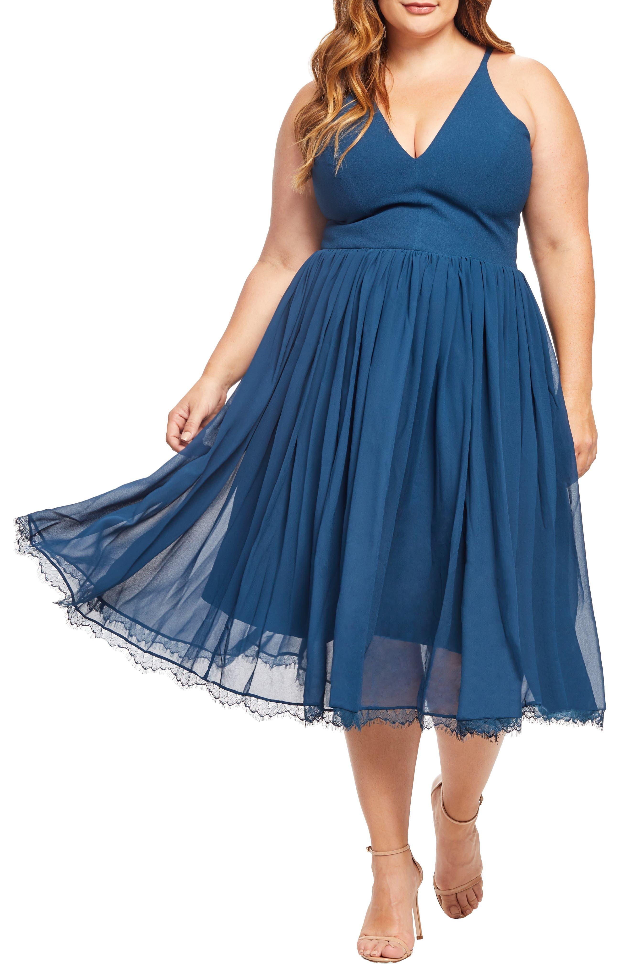 Alicia Mixed Media Midi Dress,                         Main,                         color, PEACOCK BLUE