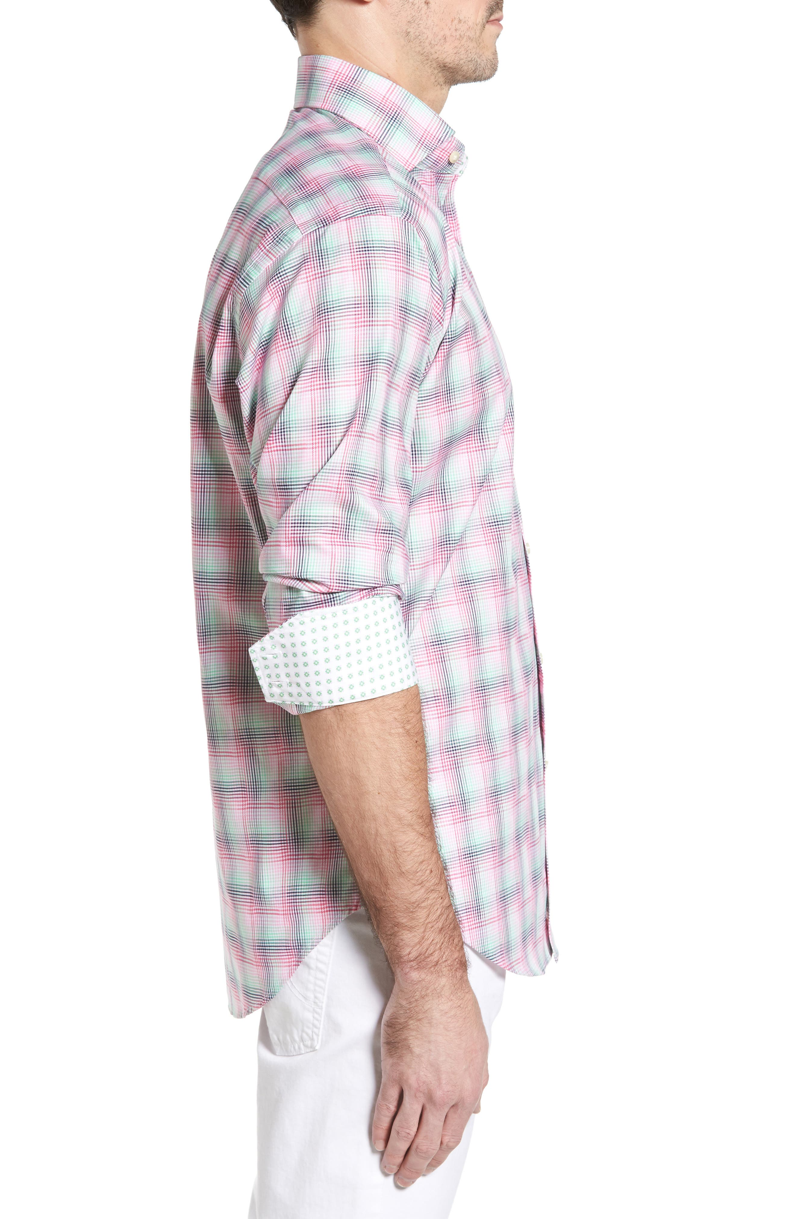 Classic Fit Funky Plaid Sport Shirt,                             Alternate thumbnail 3, color,                             650