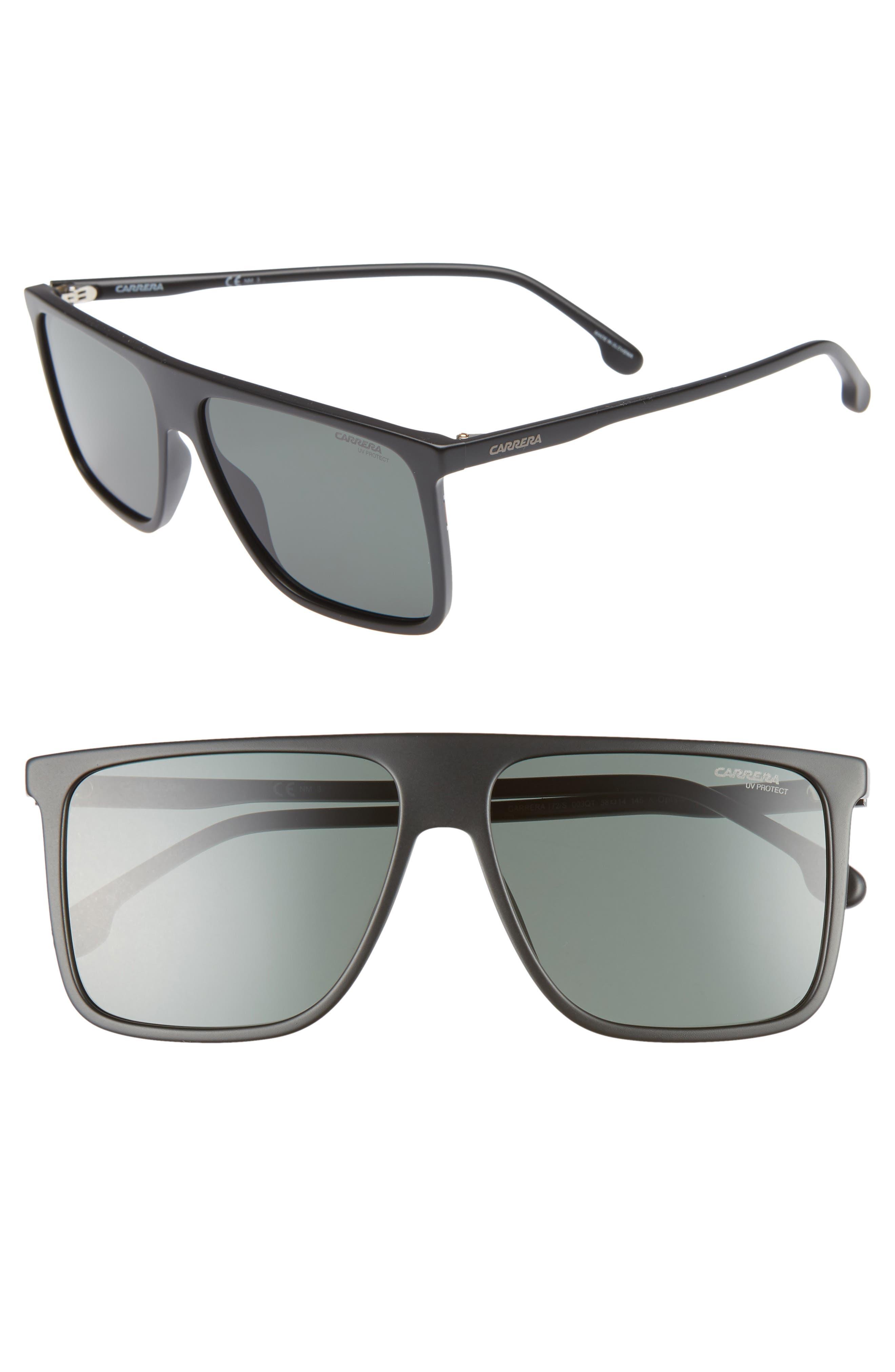 145mm Flat Top Sunglasses,                             Main thumbnail 1, color,                             MATTE BLACK