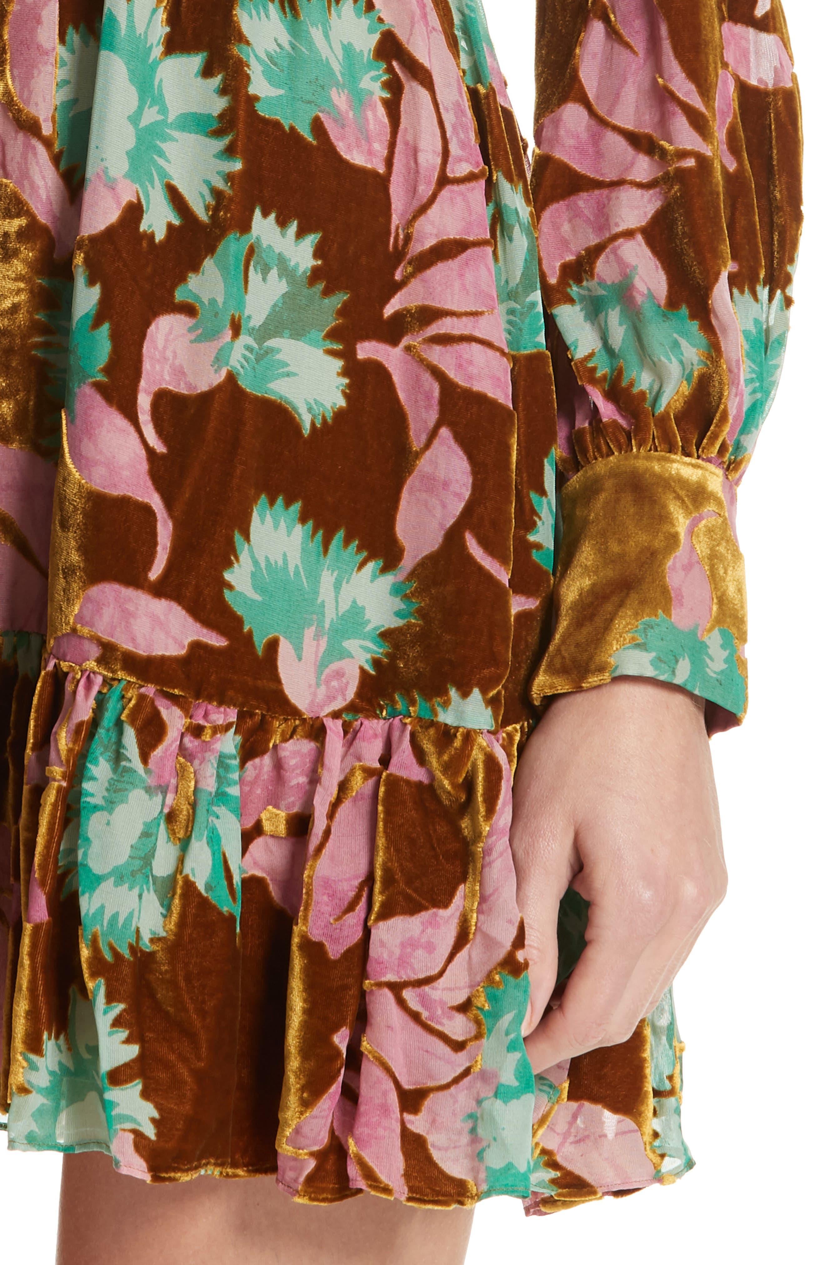 Pia Velvet Devoré Dress,                             Alternate thumbnail 4, color,                             650