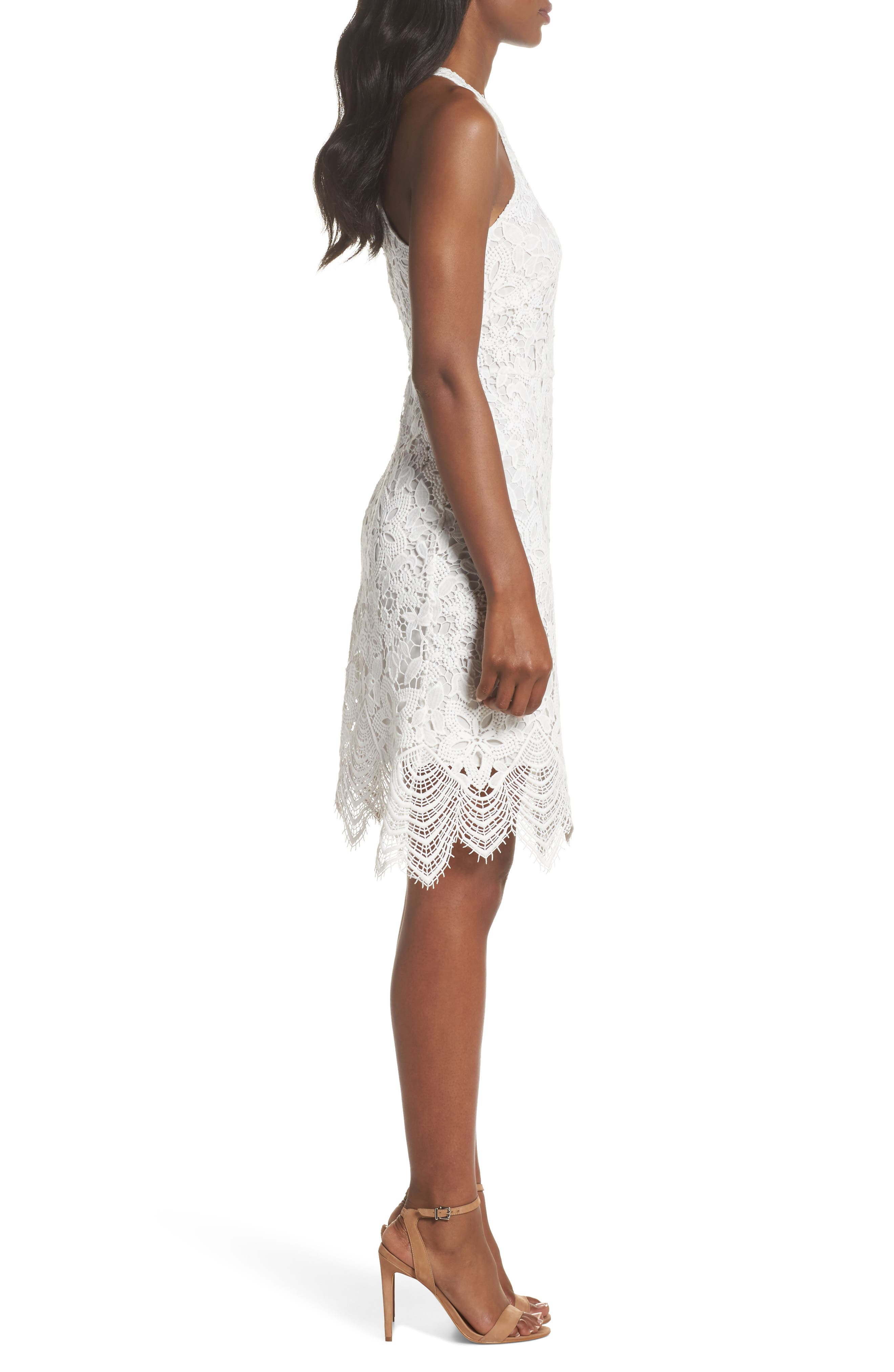 Isla Lace Halter Dress,                             Alternate thumbnail 3, color,                             100