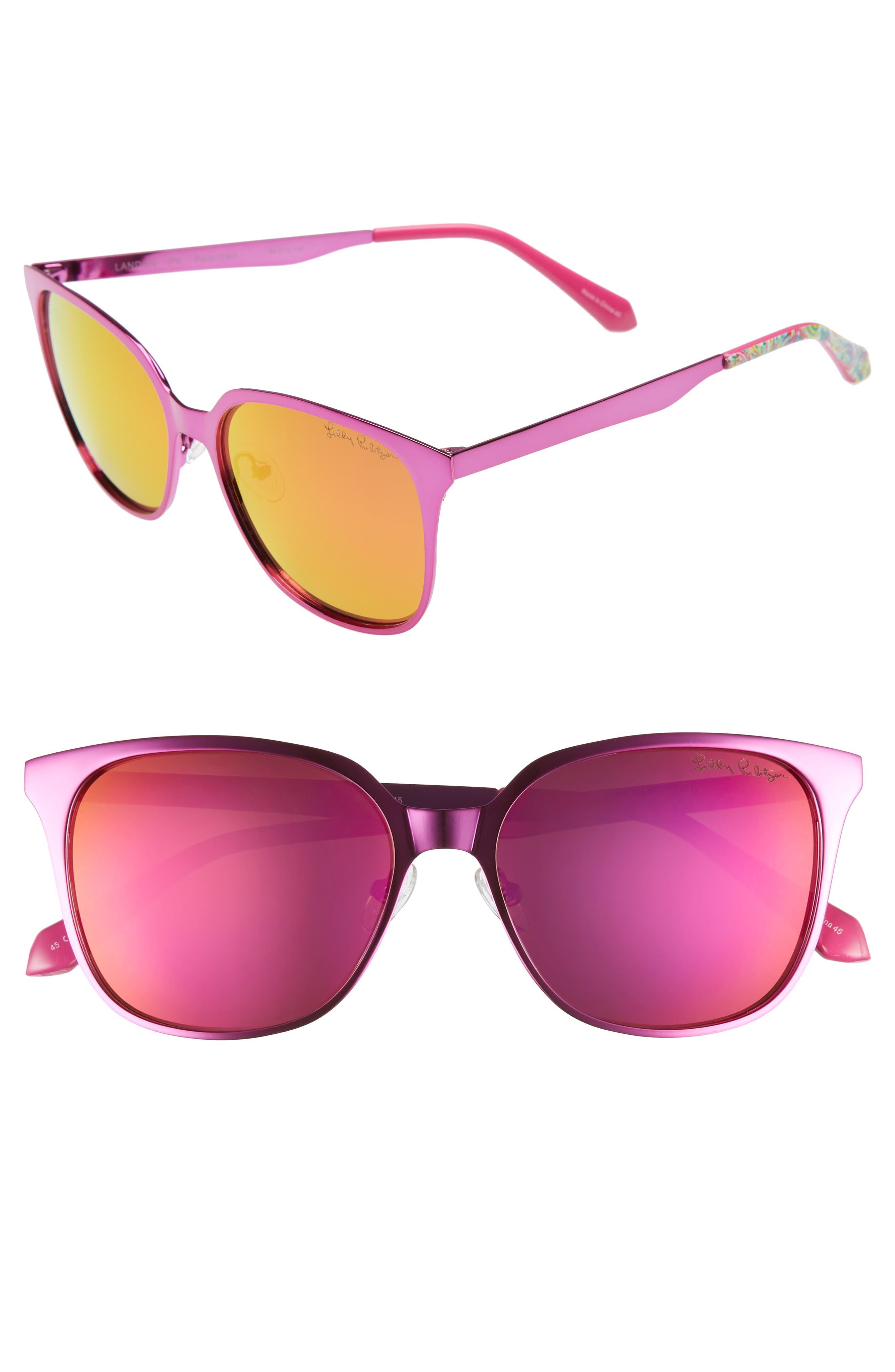 Landon 54mm Polarized Sunglasses,                             Main thumbnail 1, color,                             PINK/ PINK