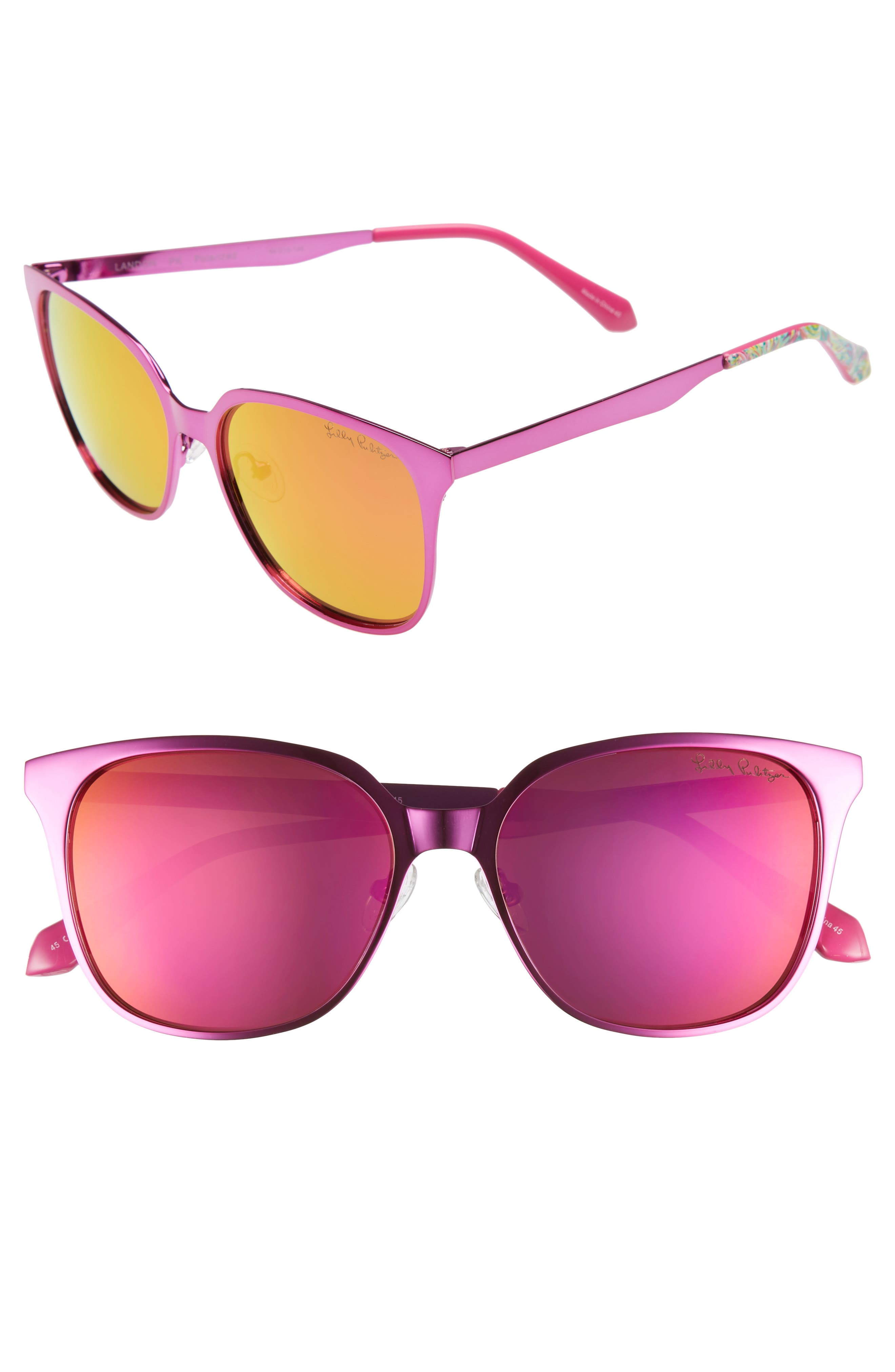 Landon 54mm Polarized Sunglasses,                         Main,                         color, PINK/ PINK