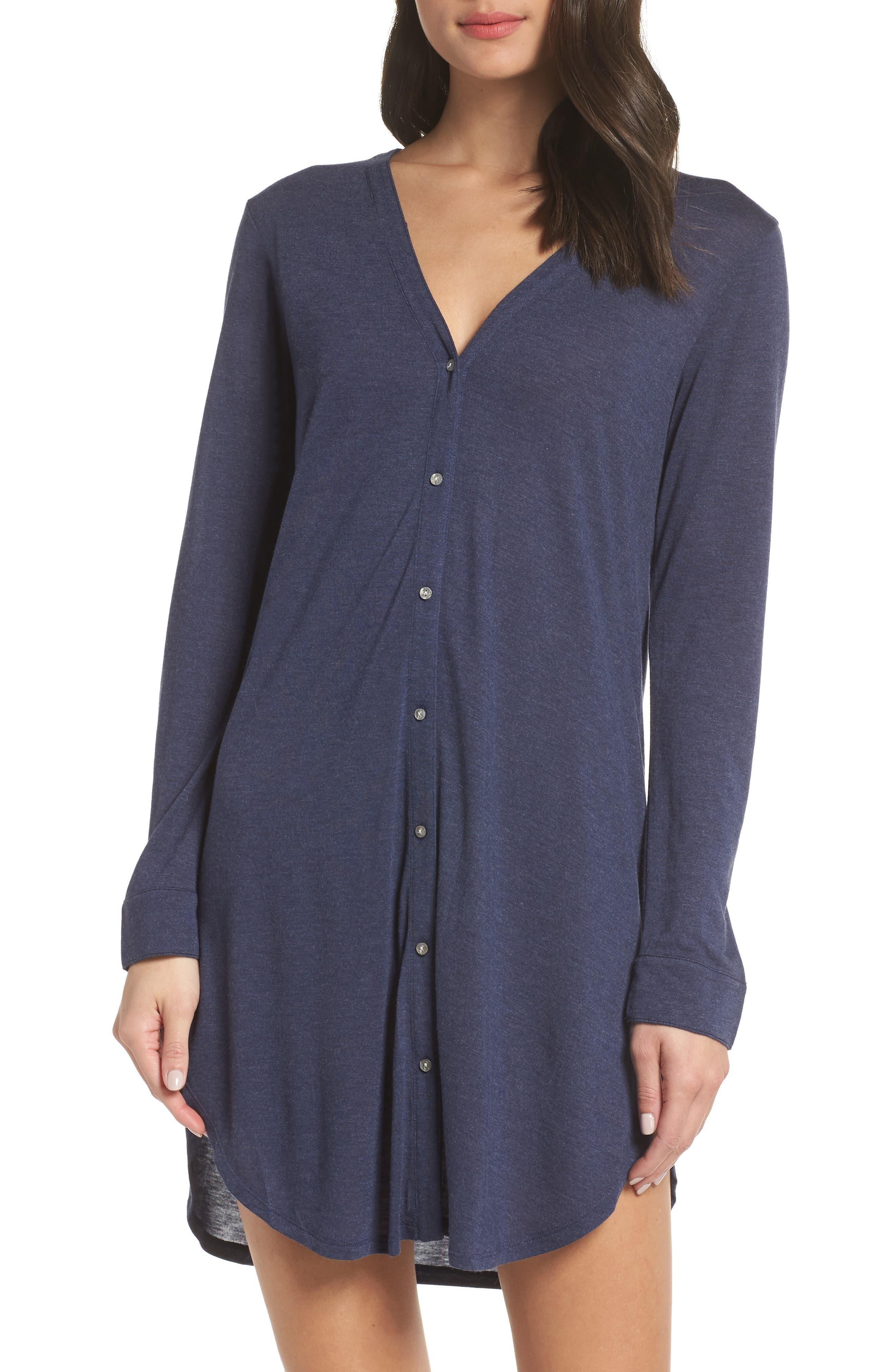 JOSIE Jersey Sleep Shirt in Heather Night Blue