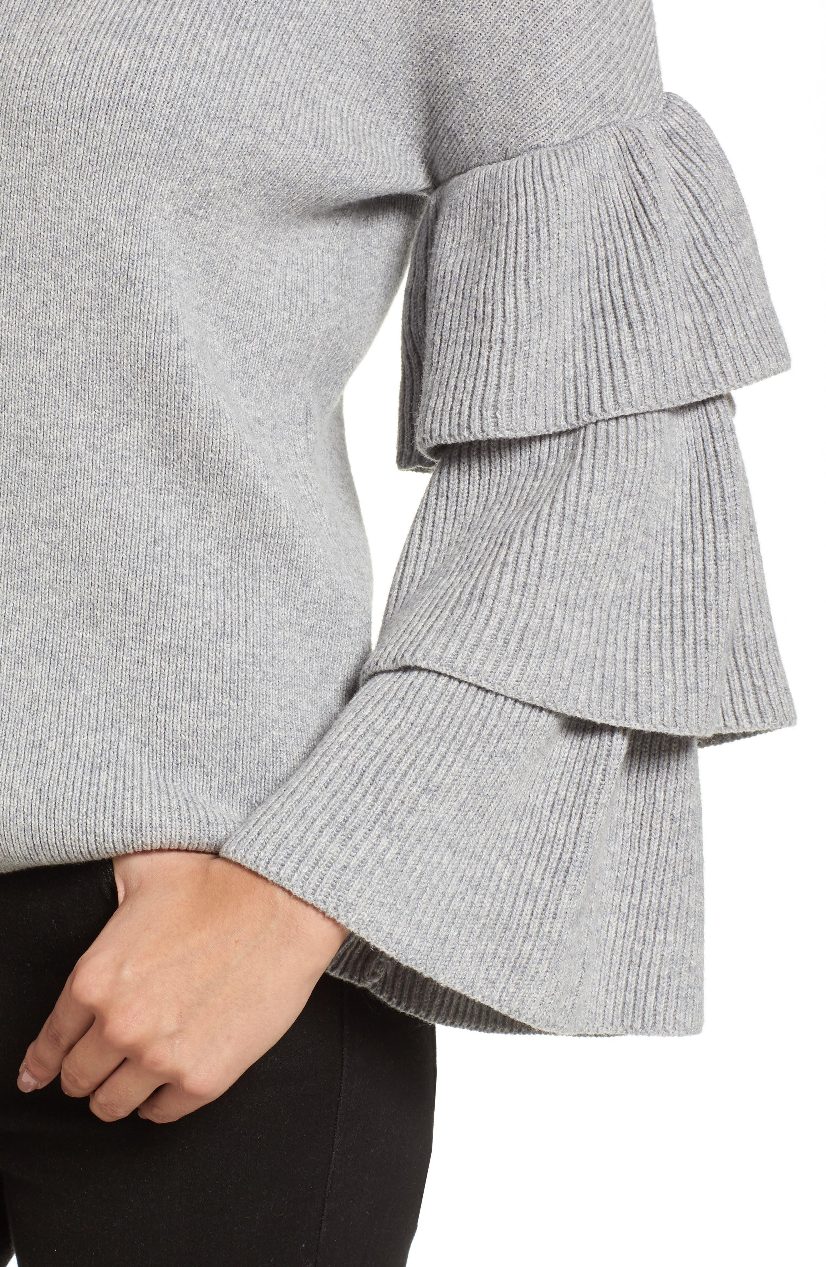 Ruffle Sleeve Sweater,                             Alternate thumbnail 14, color,