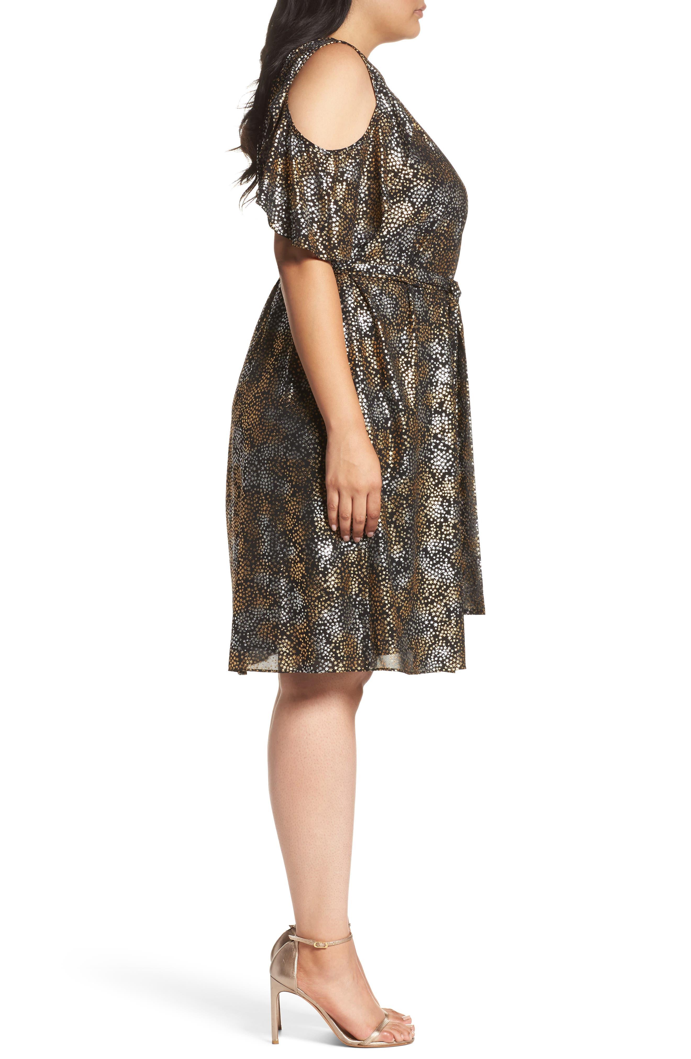Cold Shoulder Metallic Star A-Line Dress,                             Alternate thumbnail 3, color,                             047